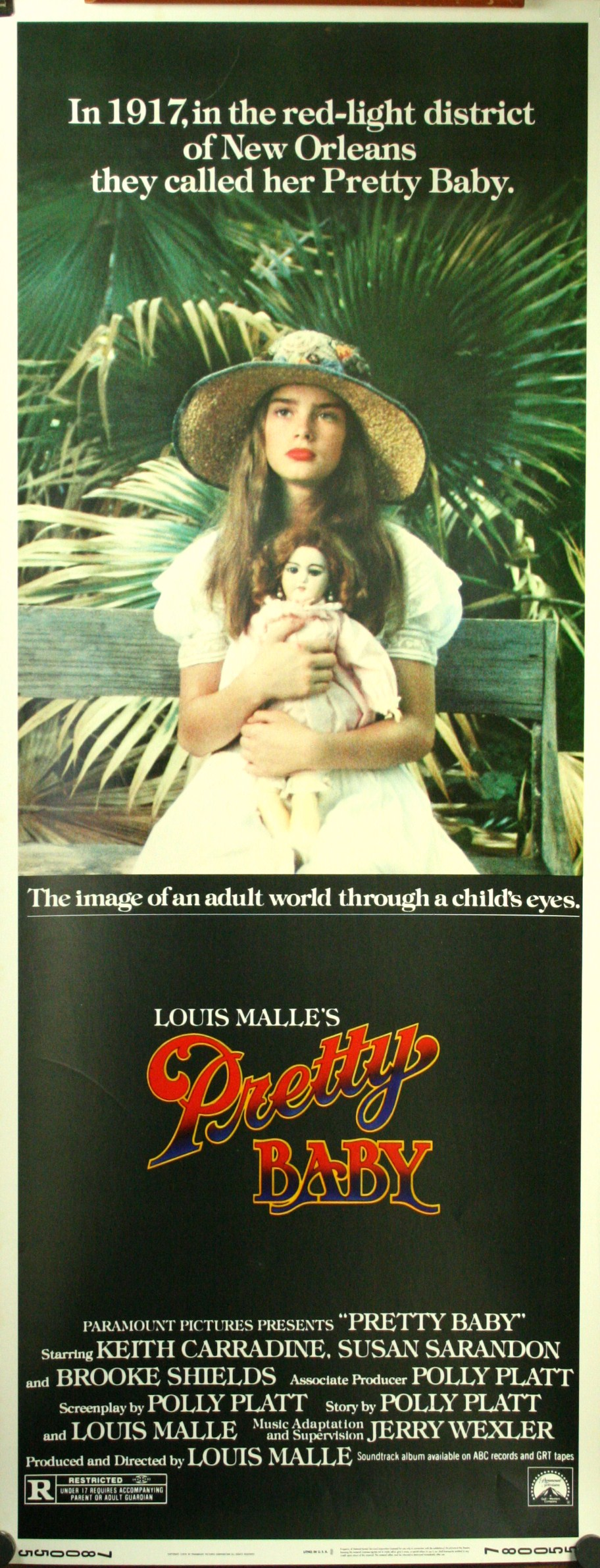 PRETTY BABY Insert Poster starring Brooke Shields