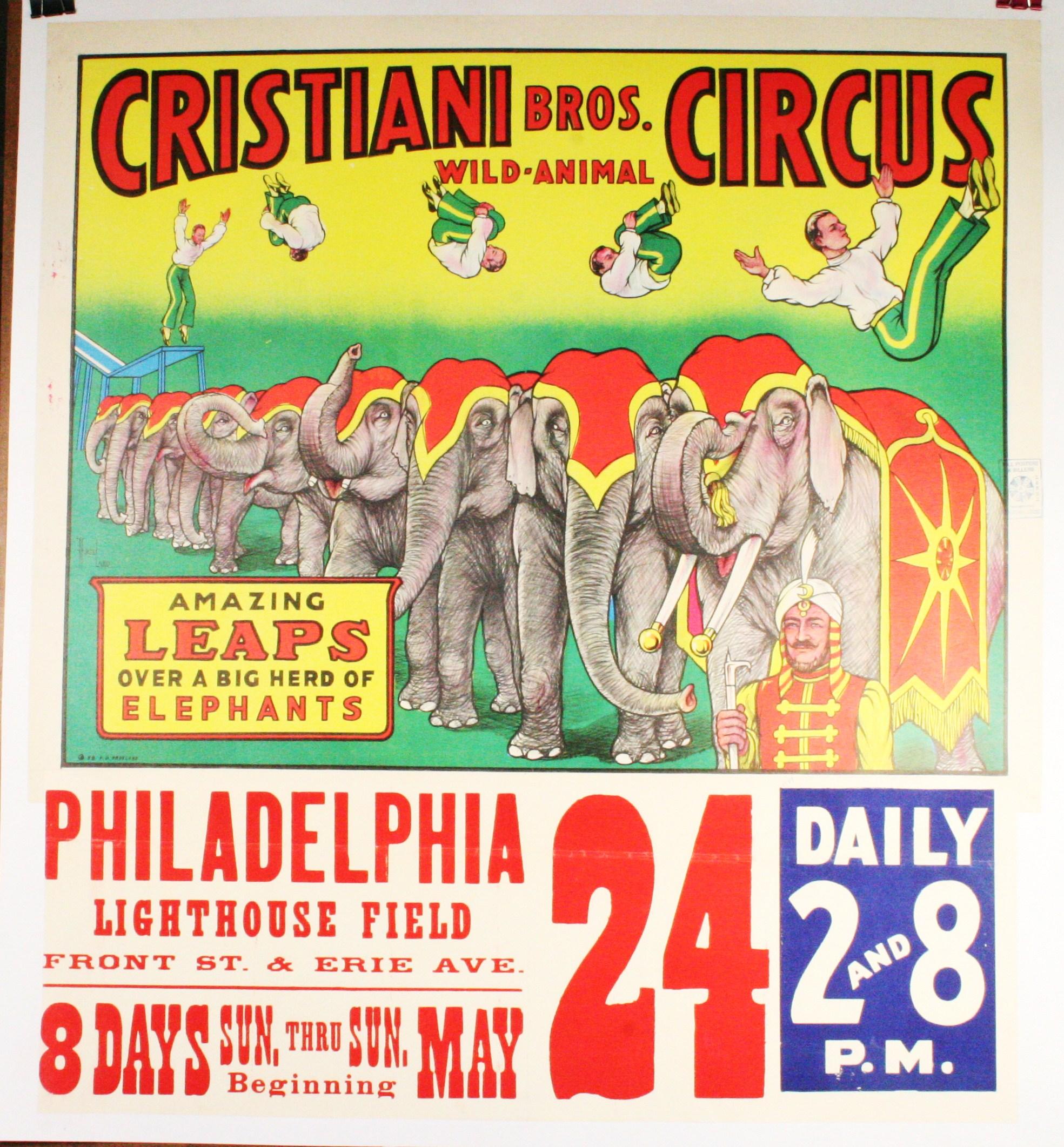 CRISTIANI BROS. Circus Poster Elephants