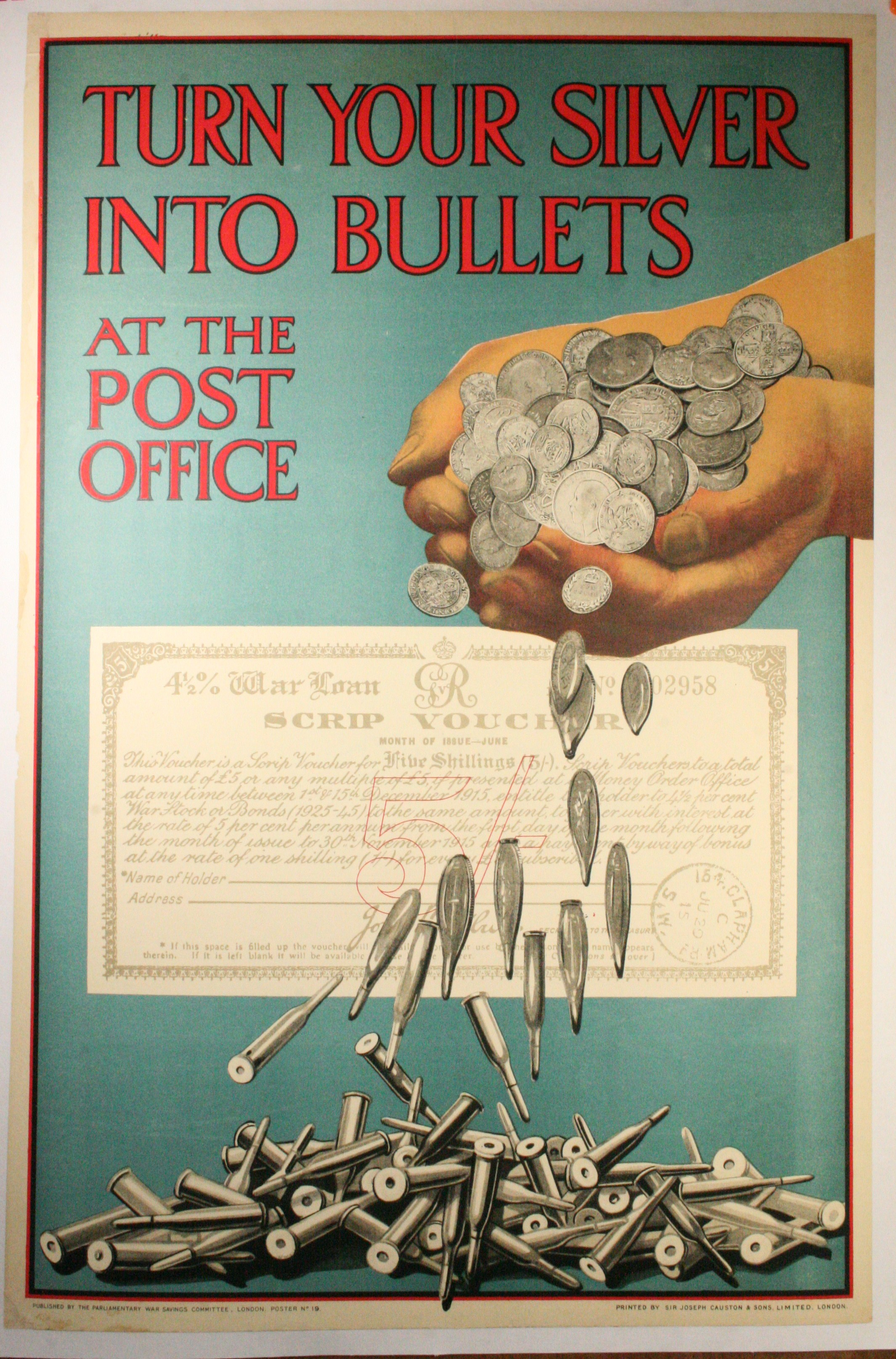 Ww1 savings bond poster turn your silver into bullets for Best store to buy posters