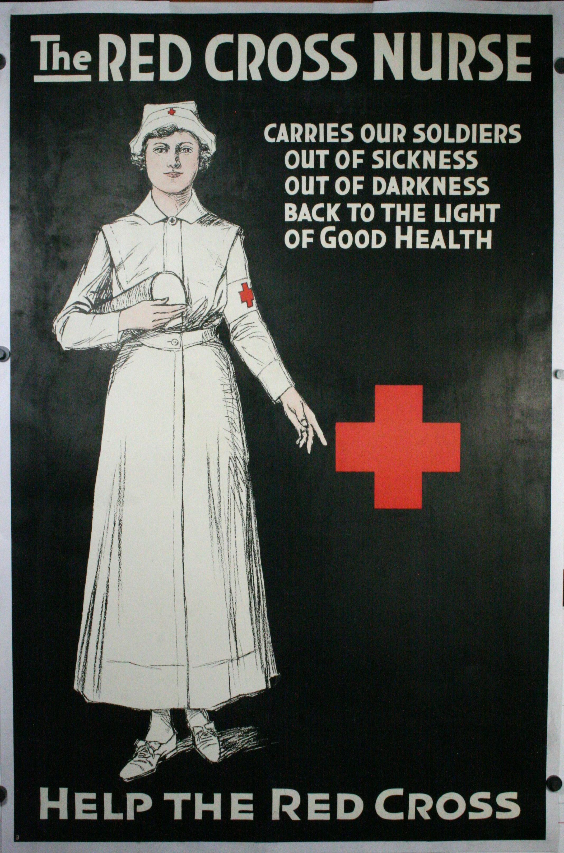 RED CROSS NURSE, An Original WW1 Propaganda Poster