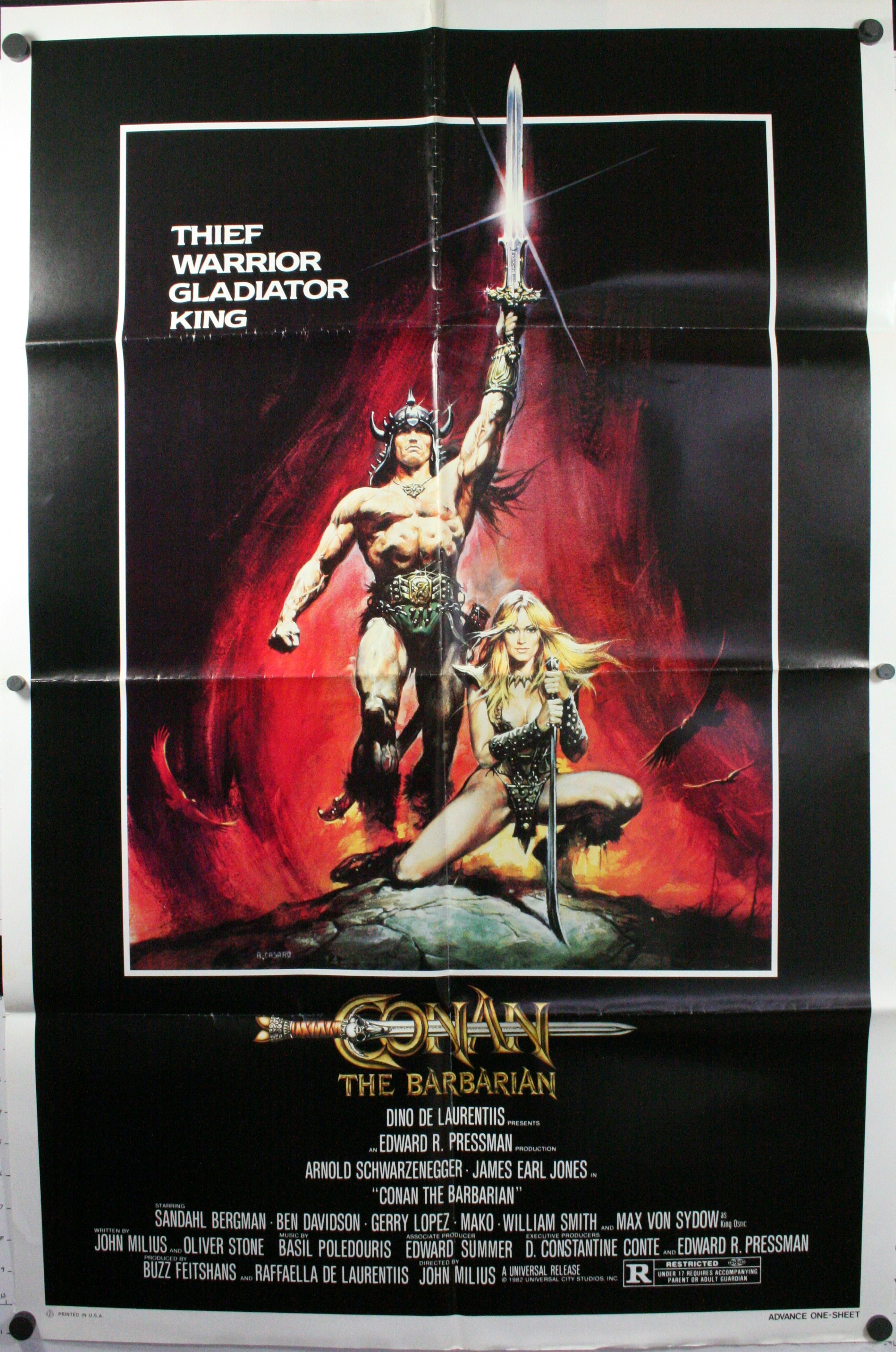 Conan The Barbarian 1982 Original Advance 1 Sheet Movie Poster Starring Arnold Schwarzenegger And James