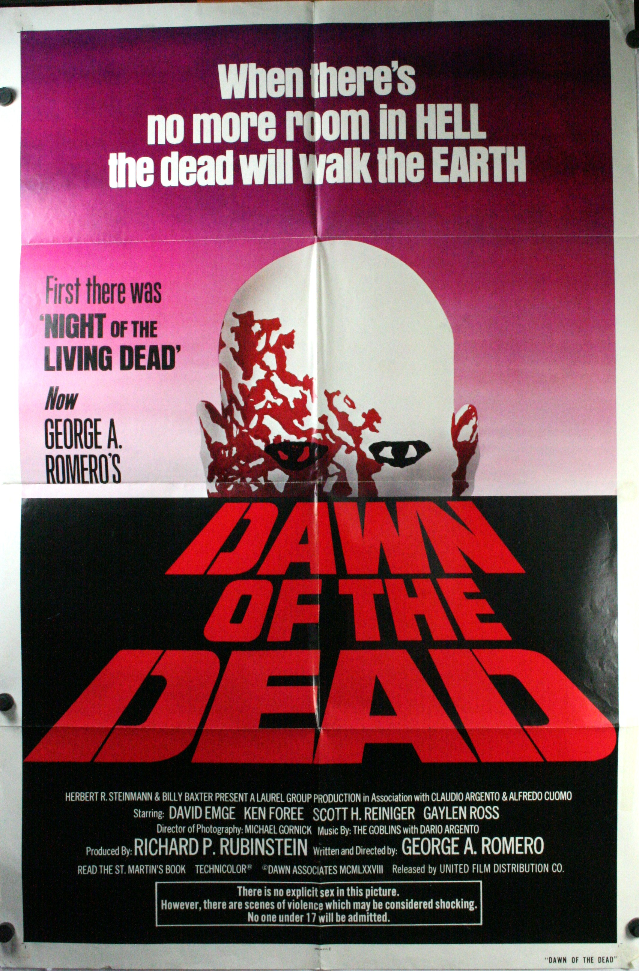 DAWN OF THE DEAD, George A. Romero Original Movie Poster