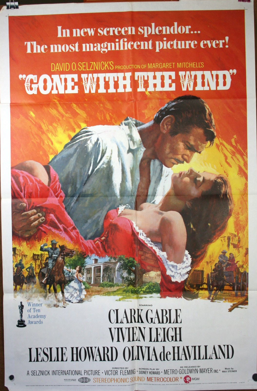 GONE WITH THE WIND, Clark Gable Original Movie Poster