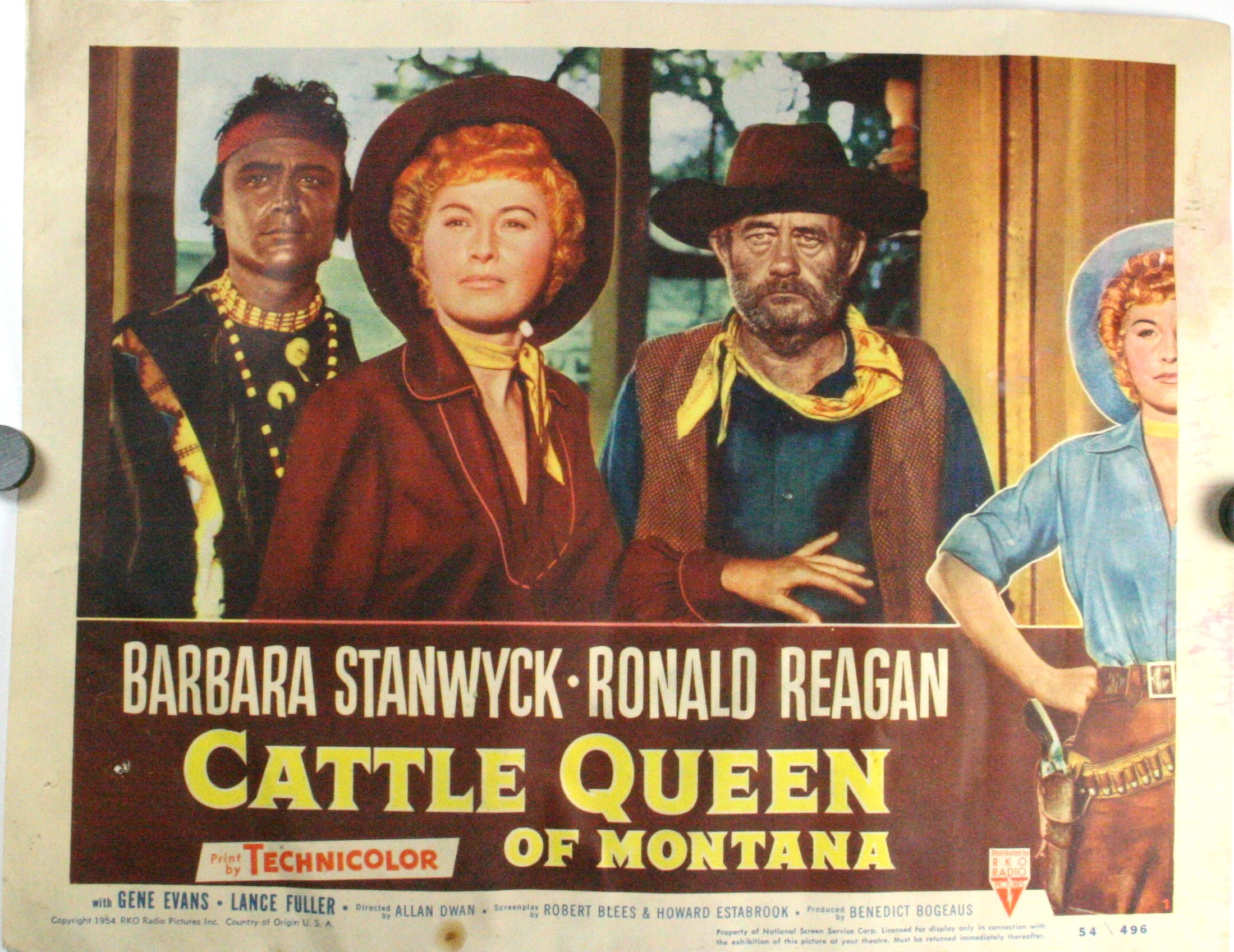 Cattle Queen Of Montana Starring Ronald Reagan Set Of 7