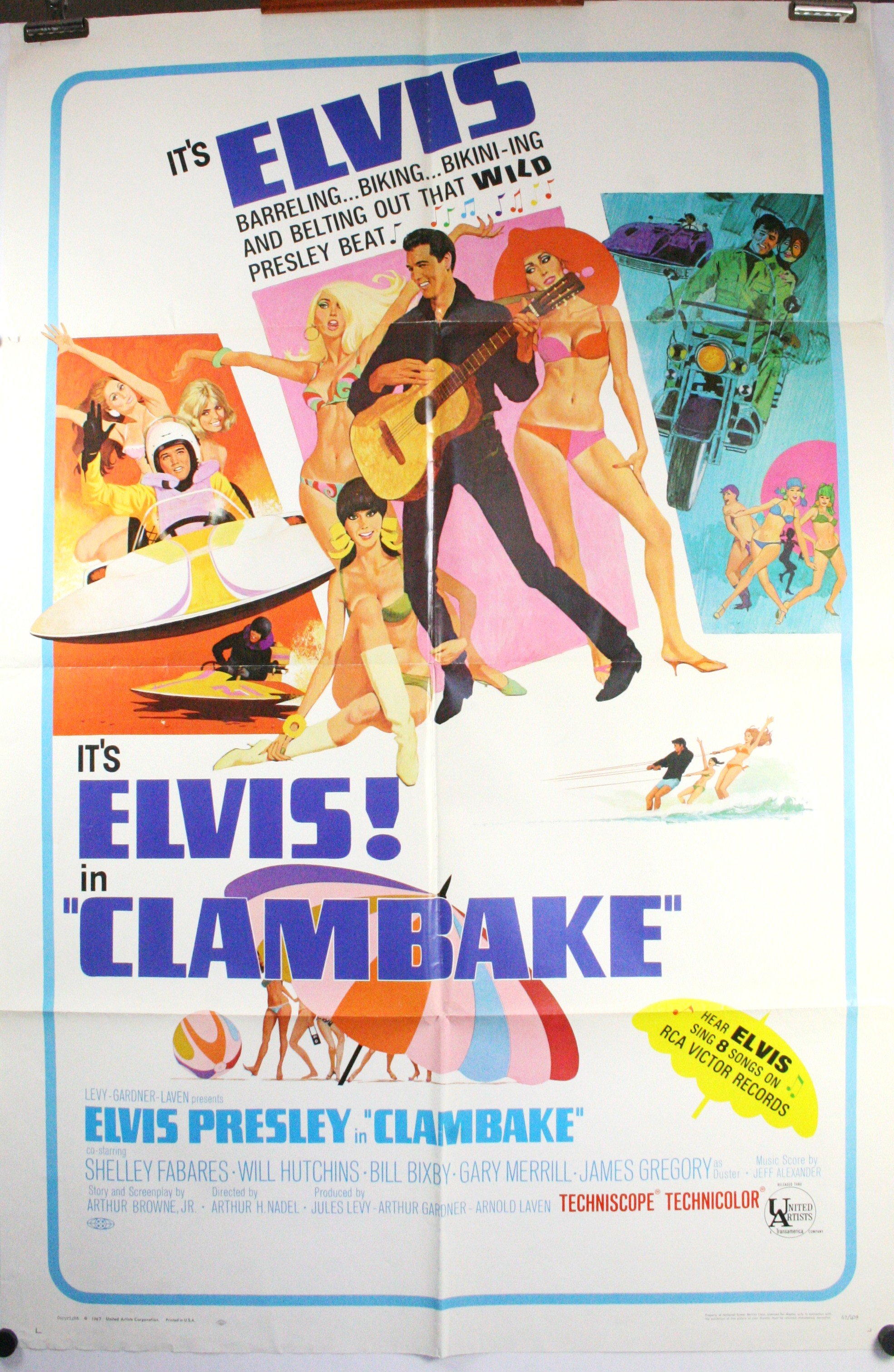 CLAMBAKE, Original Antique Elvis Presley Movie Theater Poster