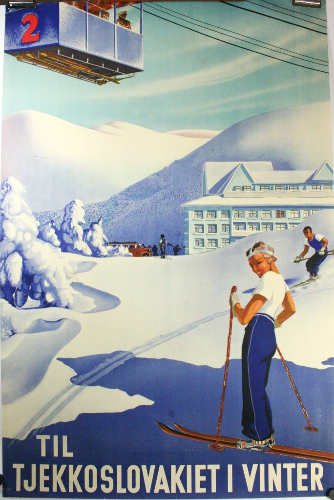 Original Deco Travel Ski Poster Czechoslovakia