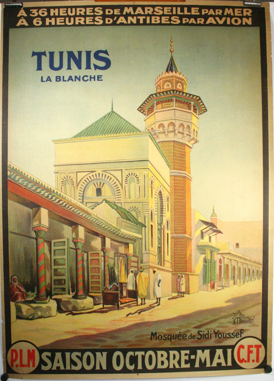TUNIS LA BLANCHE, Original Vintage Travel Poster Tunisia