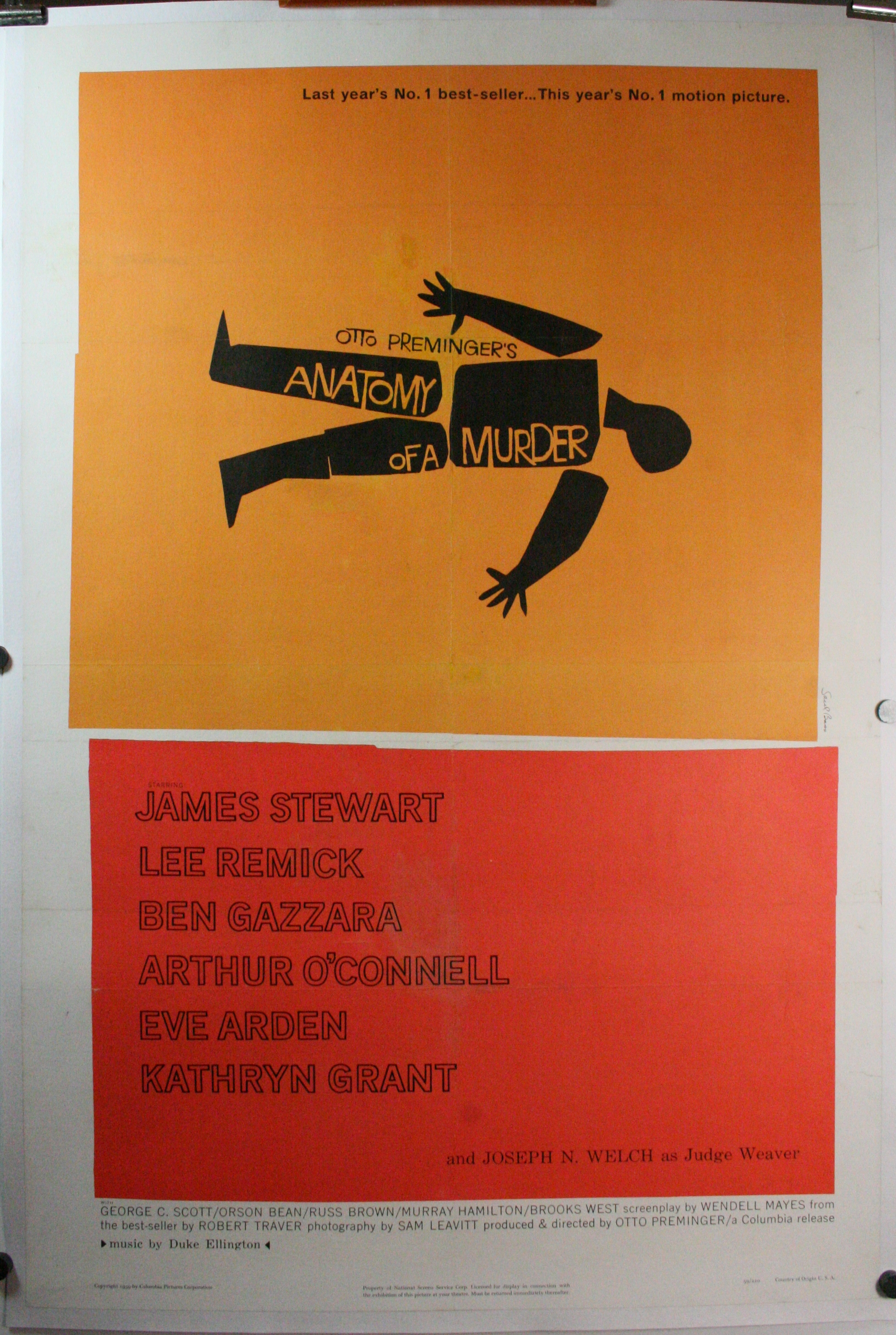 Anatomy Of A Murder Original Movie Poster Otto Preminger