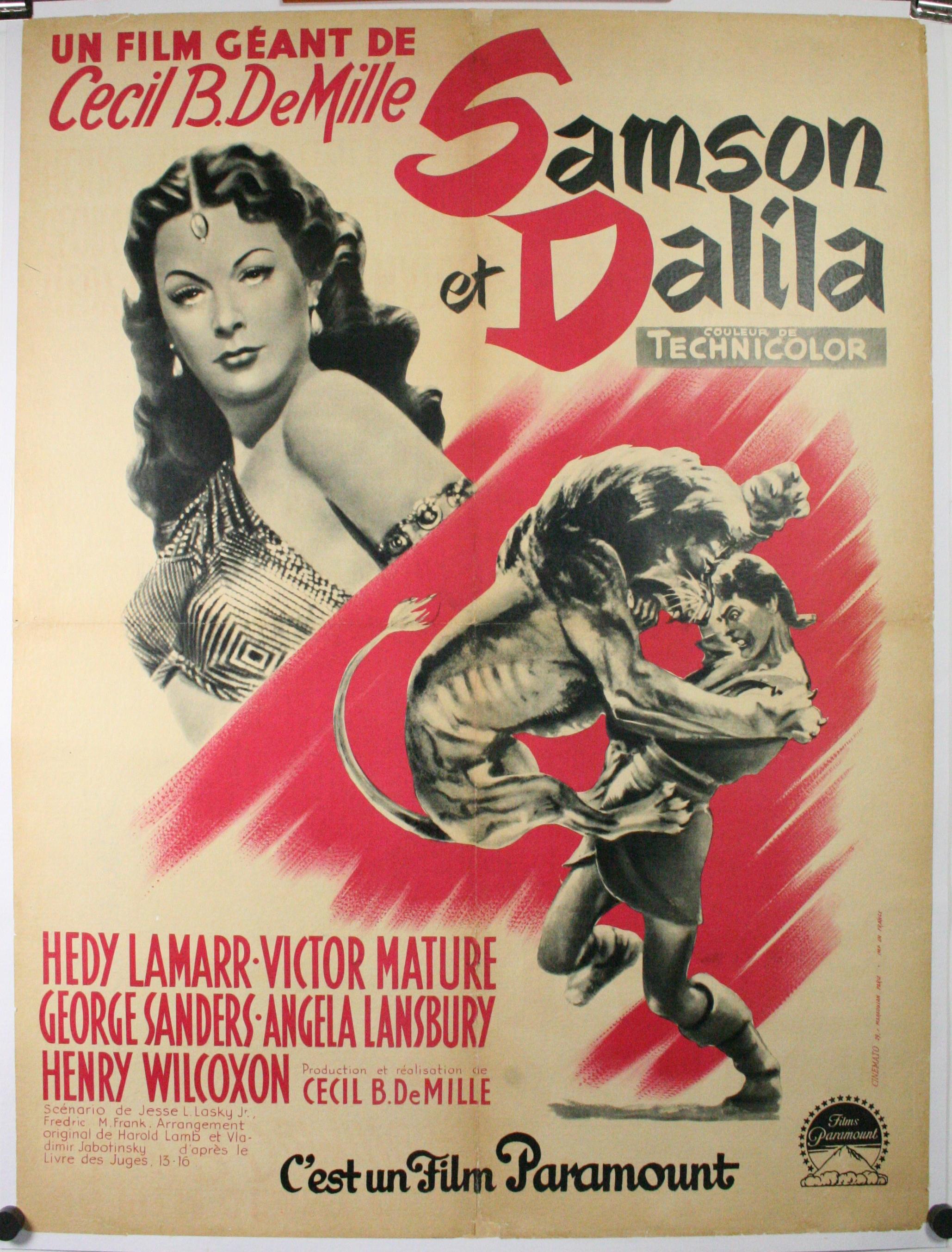 samson et dalila samson and delilah original french movie poster