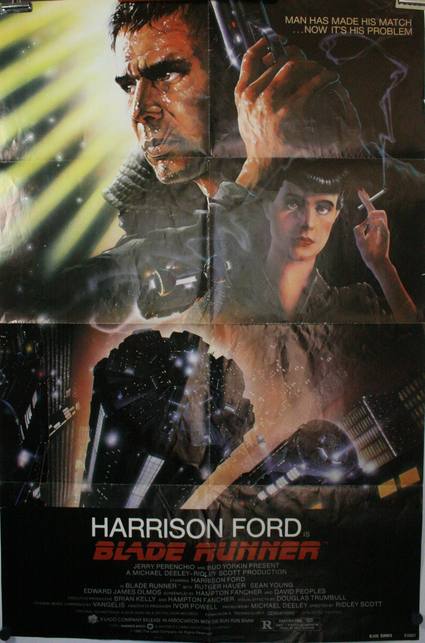 BLADE RUNNER, Harrison Ford Original Movie Theater Poster - photo#23