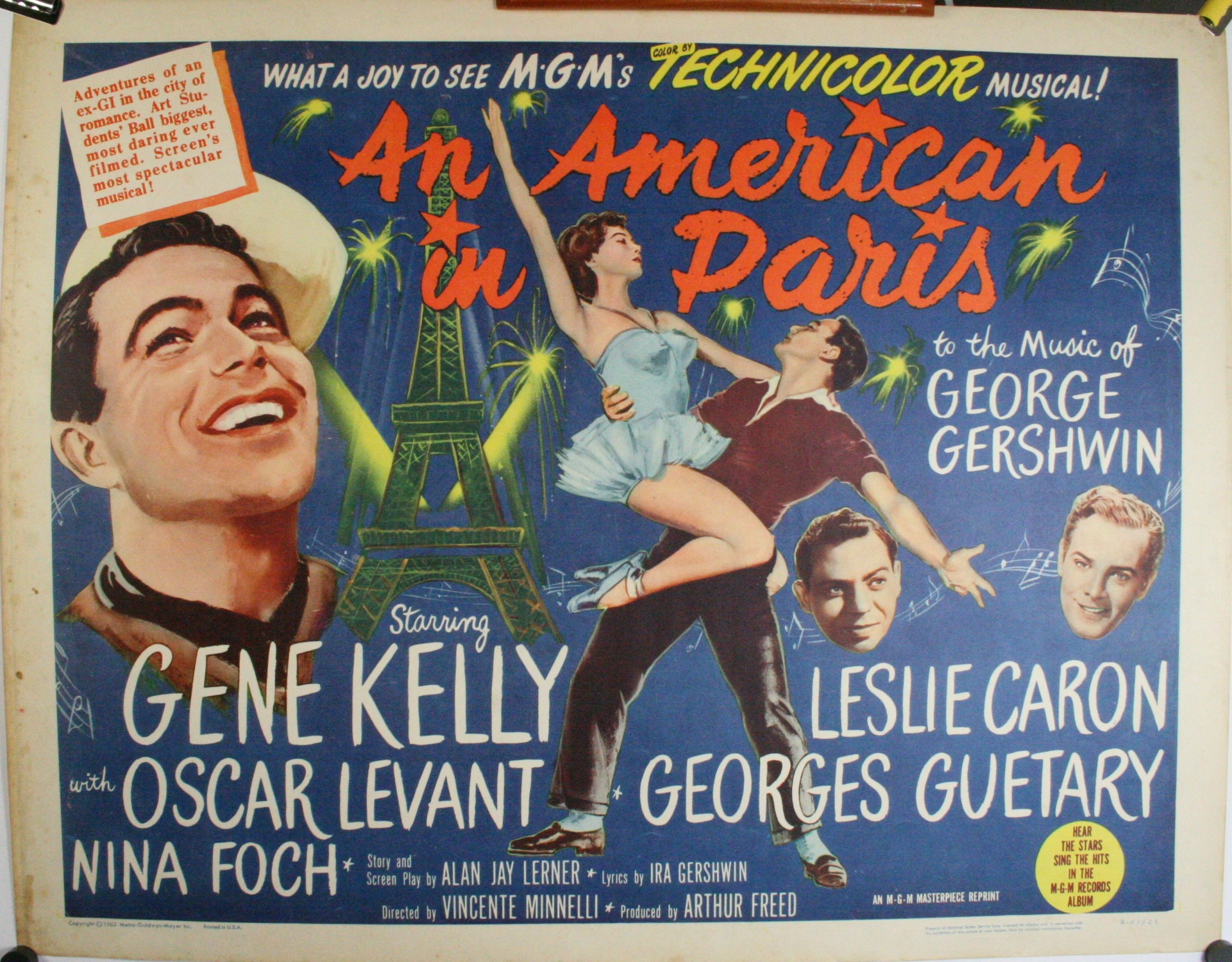 AN AMERICAN IN PARIS, Re-Release 1/2 Sheet Musical Movie ...