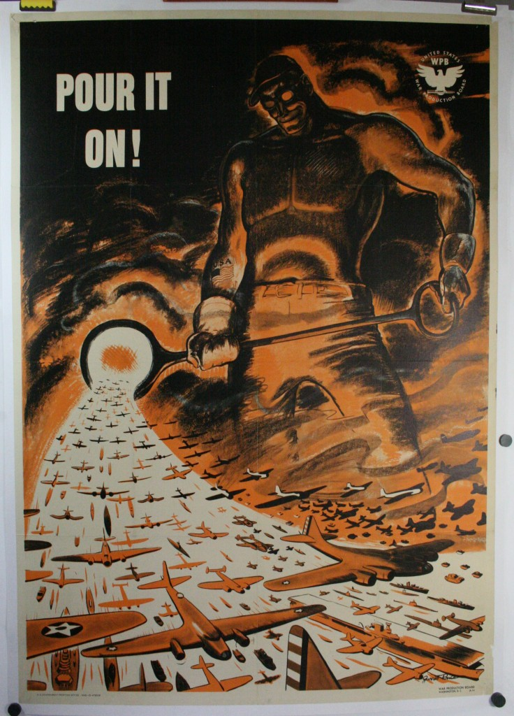 Pour It On Original Ww2 War Production Board Poster