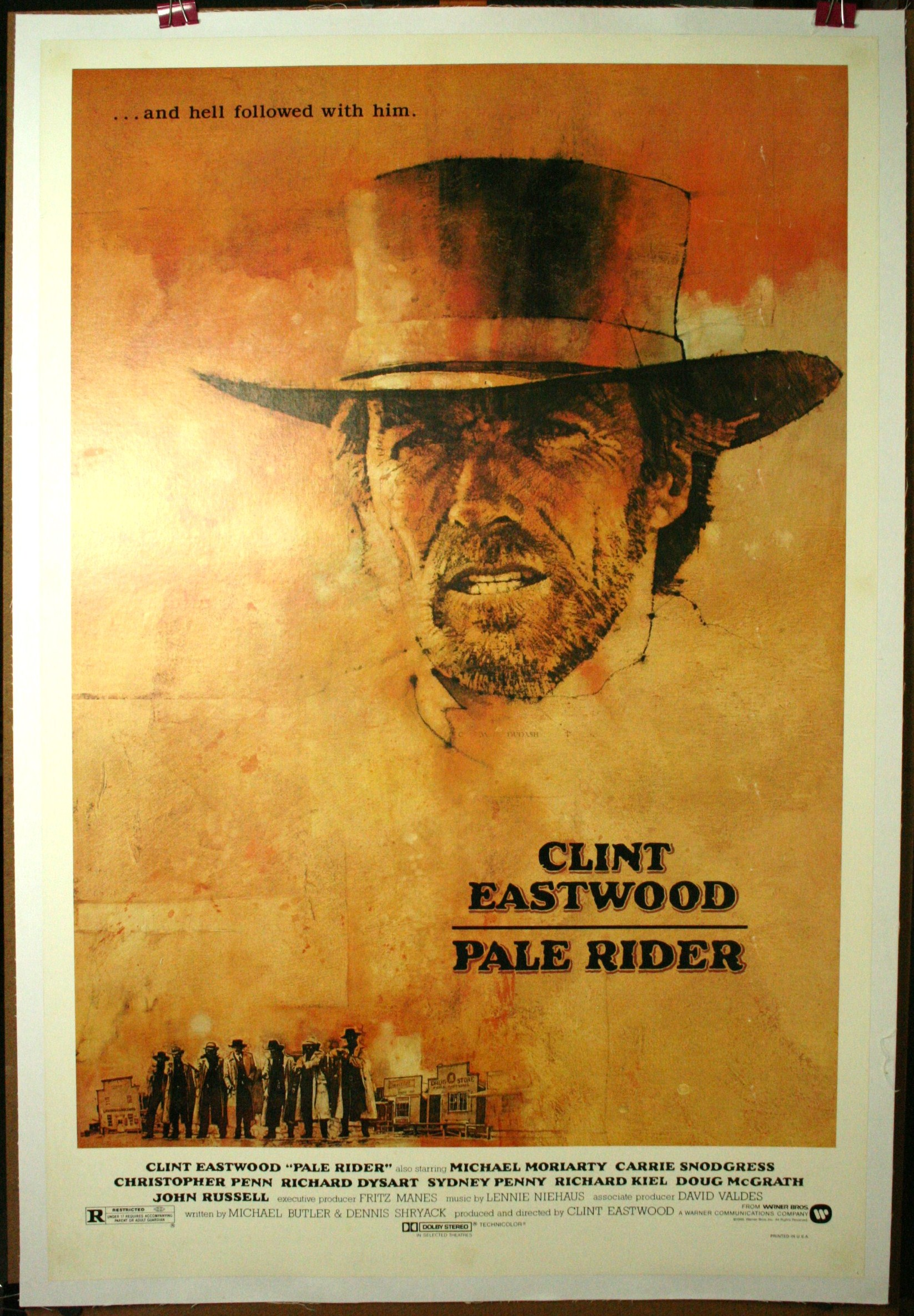 pale rider clint eastwood western poster on linen