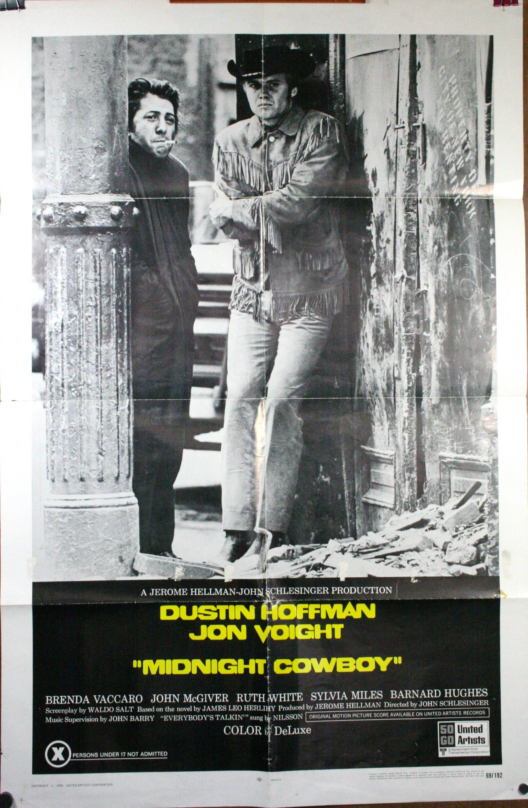 MIDNIGHT COWBOY, Original X rated movie poster