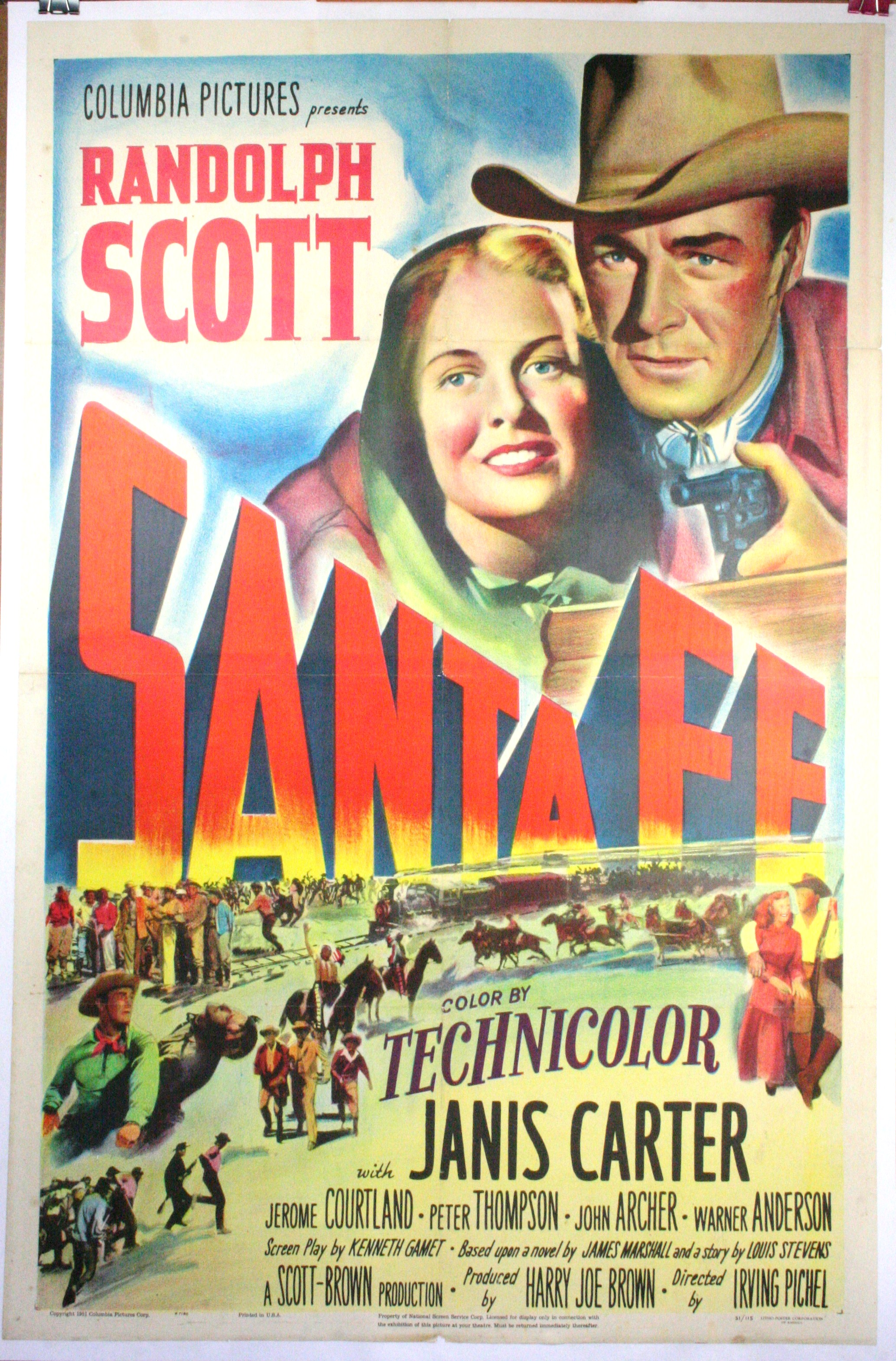 santa fe vintage movie poster randolph scott