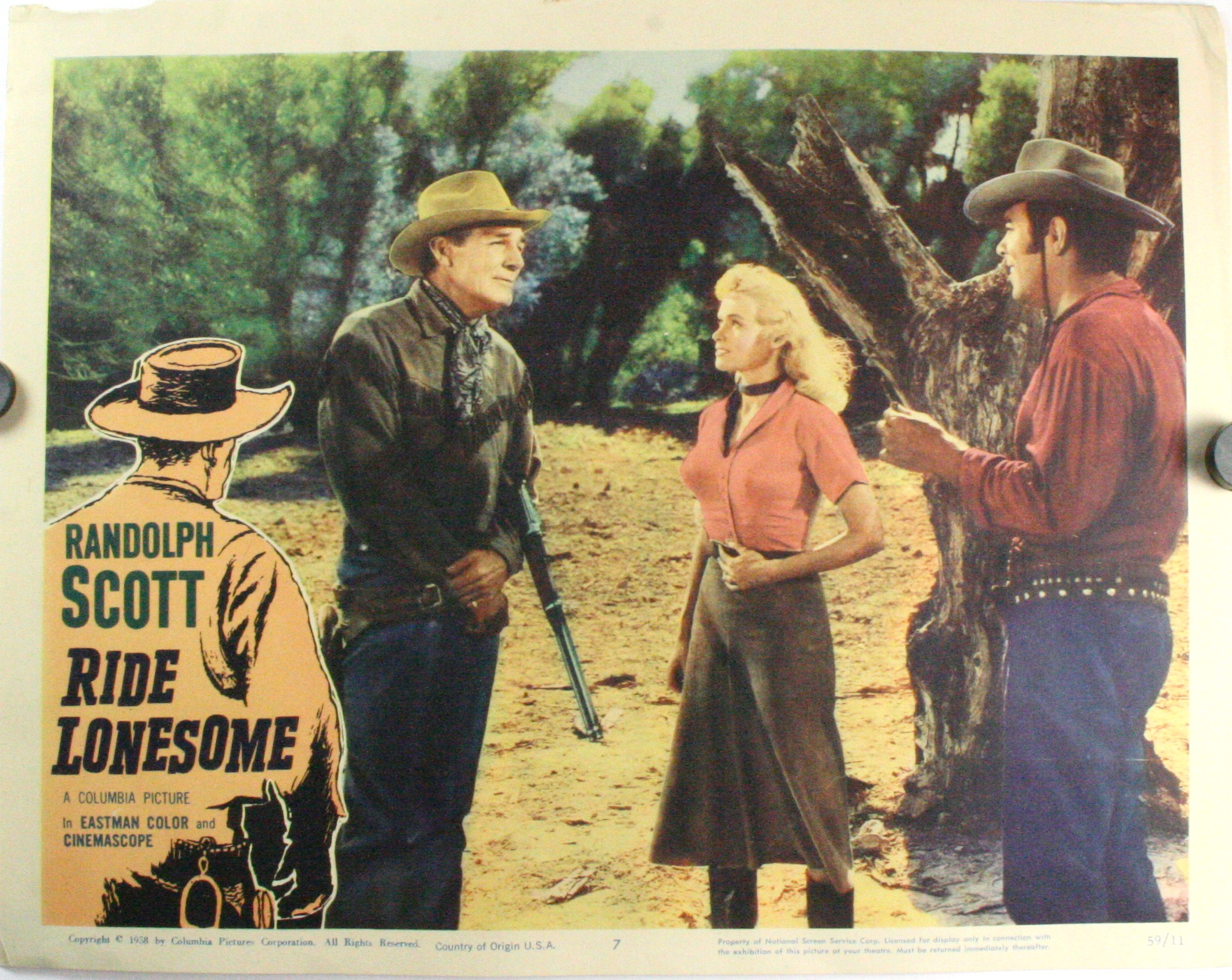 Ride Lonesome Starring Randolph Scott Set Of 8 Lobby Cards