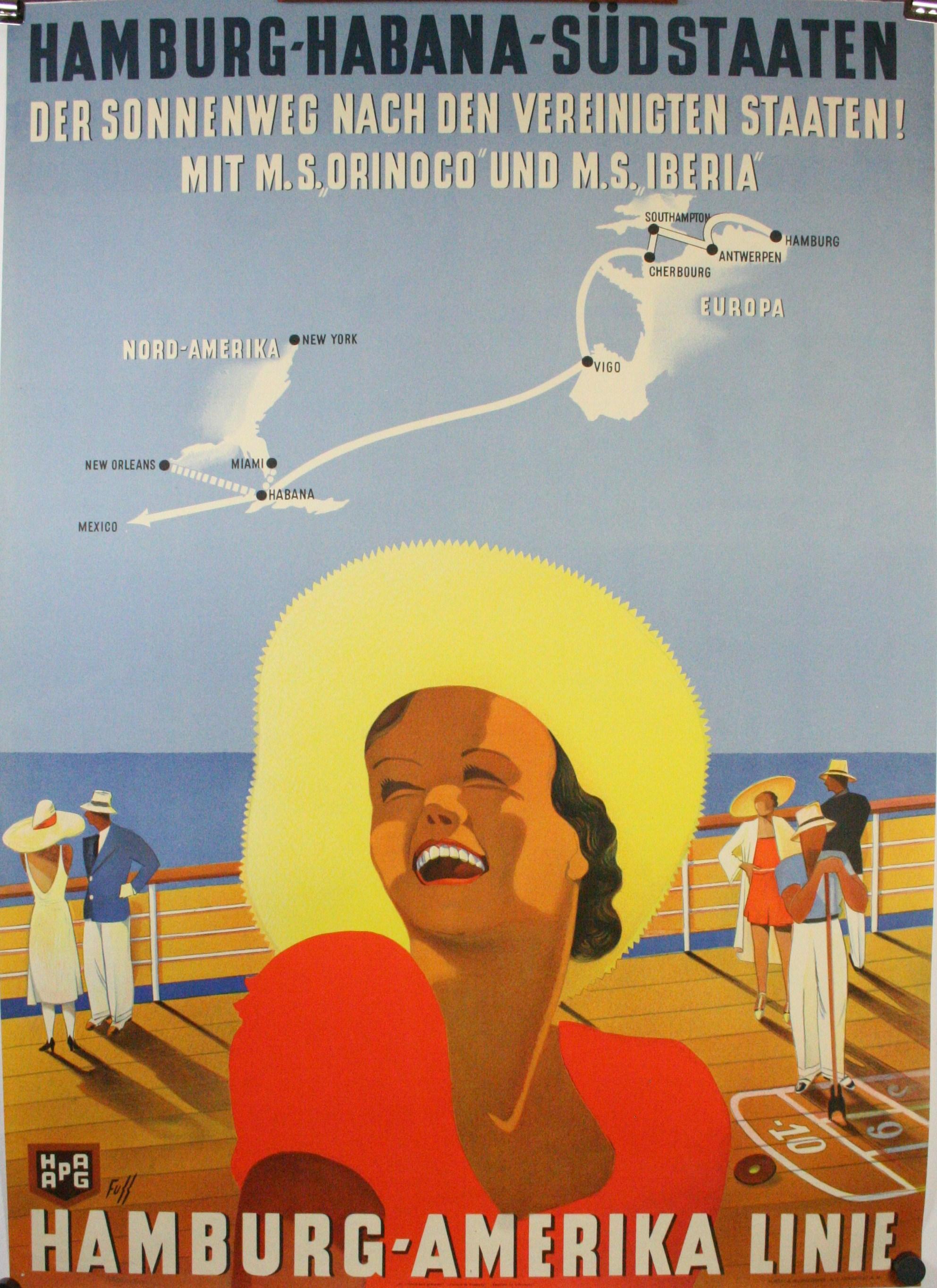 ORINOCO vintage boat travel poster CUBA MEXICO hamburg amerika line 24X36