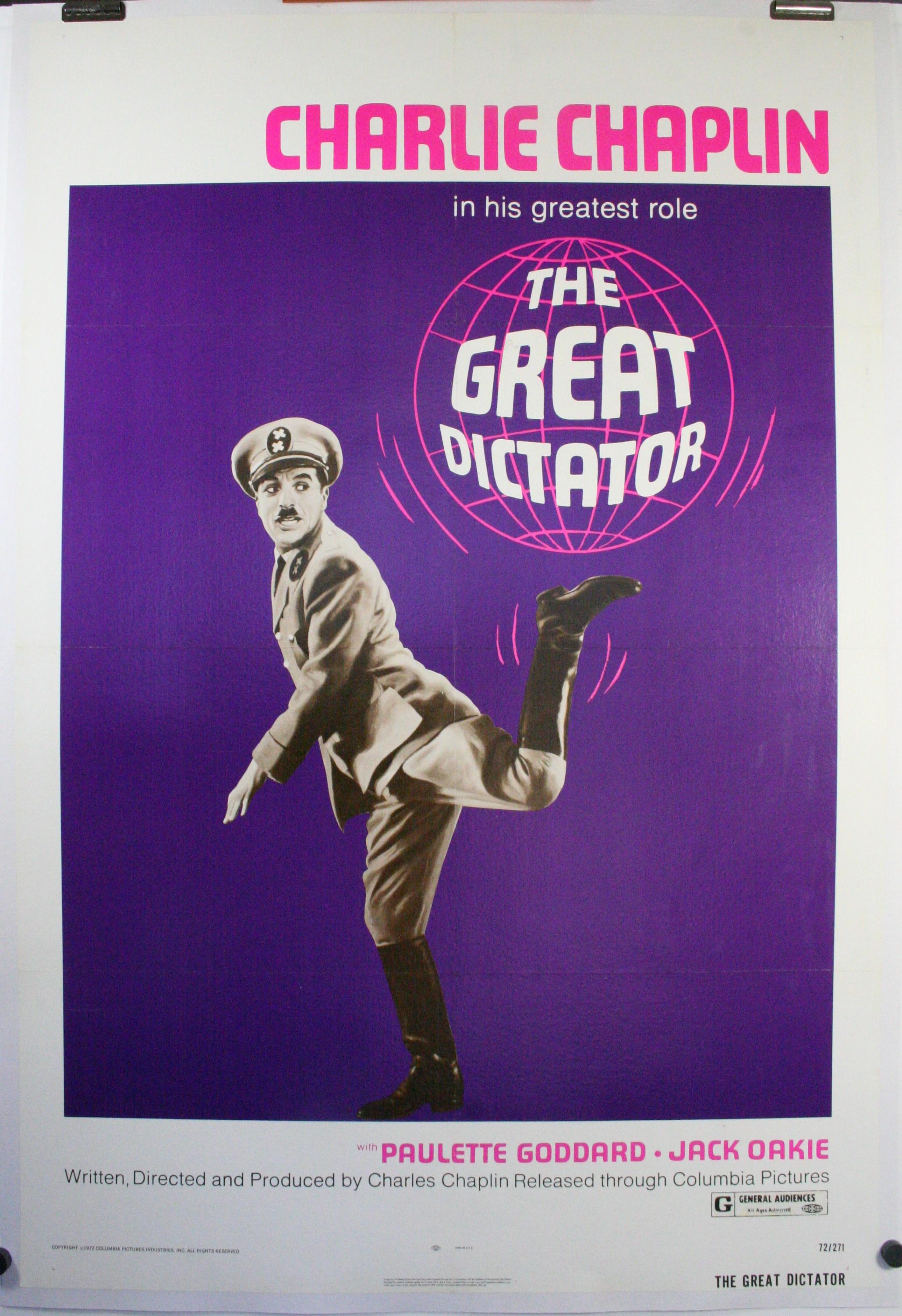 GREAT DICTATOR, Original Charlie Chaplin Movie Poster