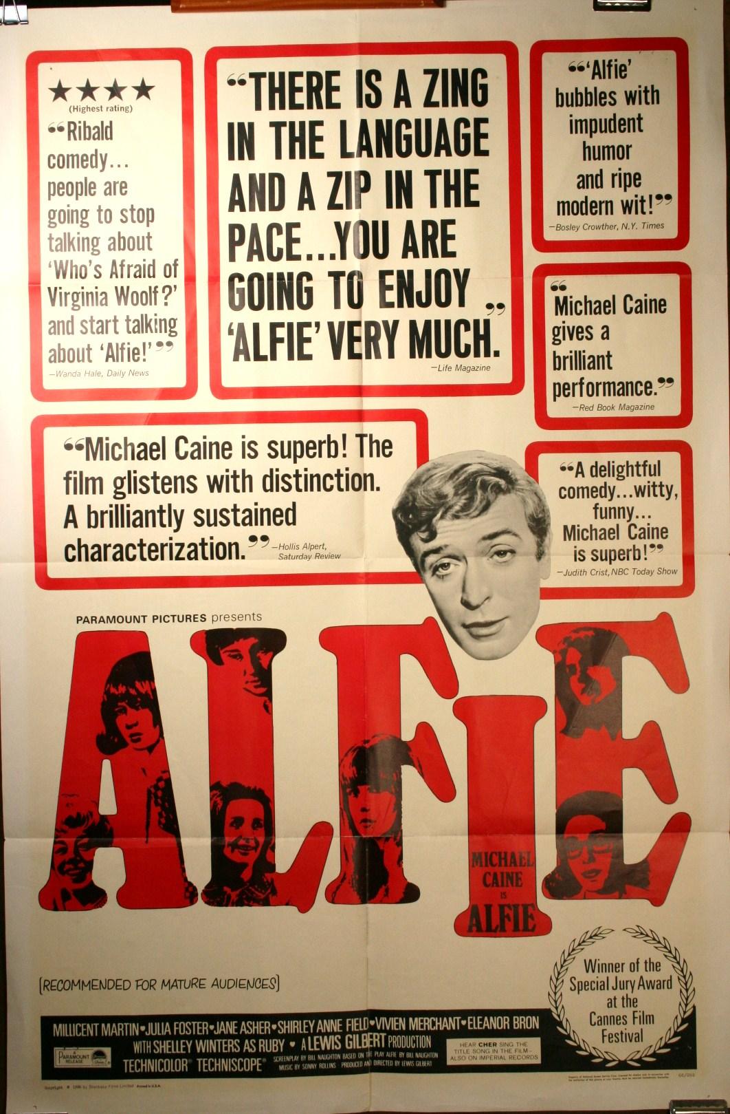 alfie original michael caine film poster