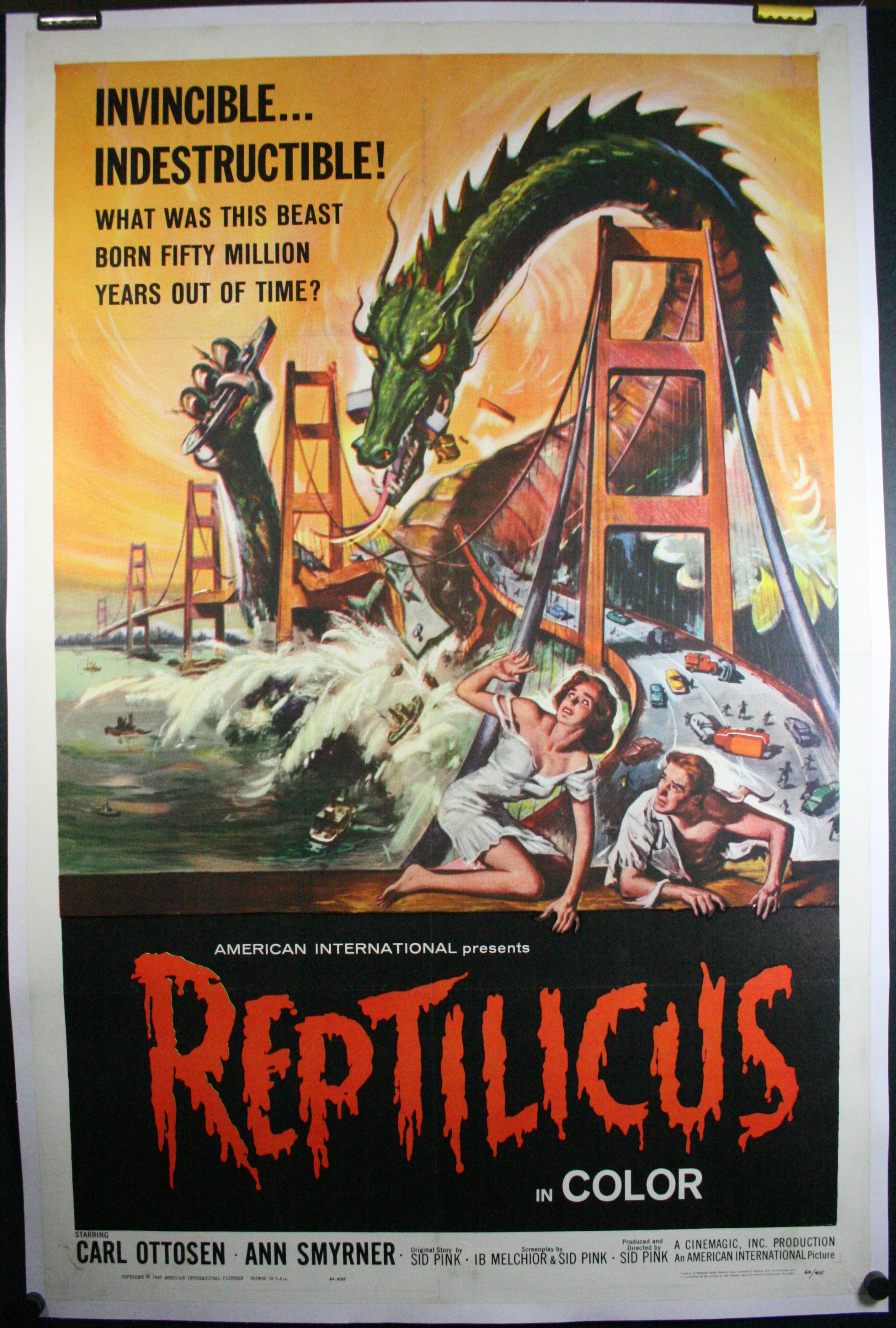 Reptilicus, Original Authentic 60S Sci Fi Monster Movie Theater Poster For Sale-9214