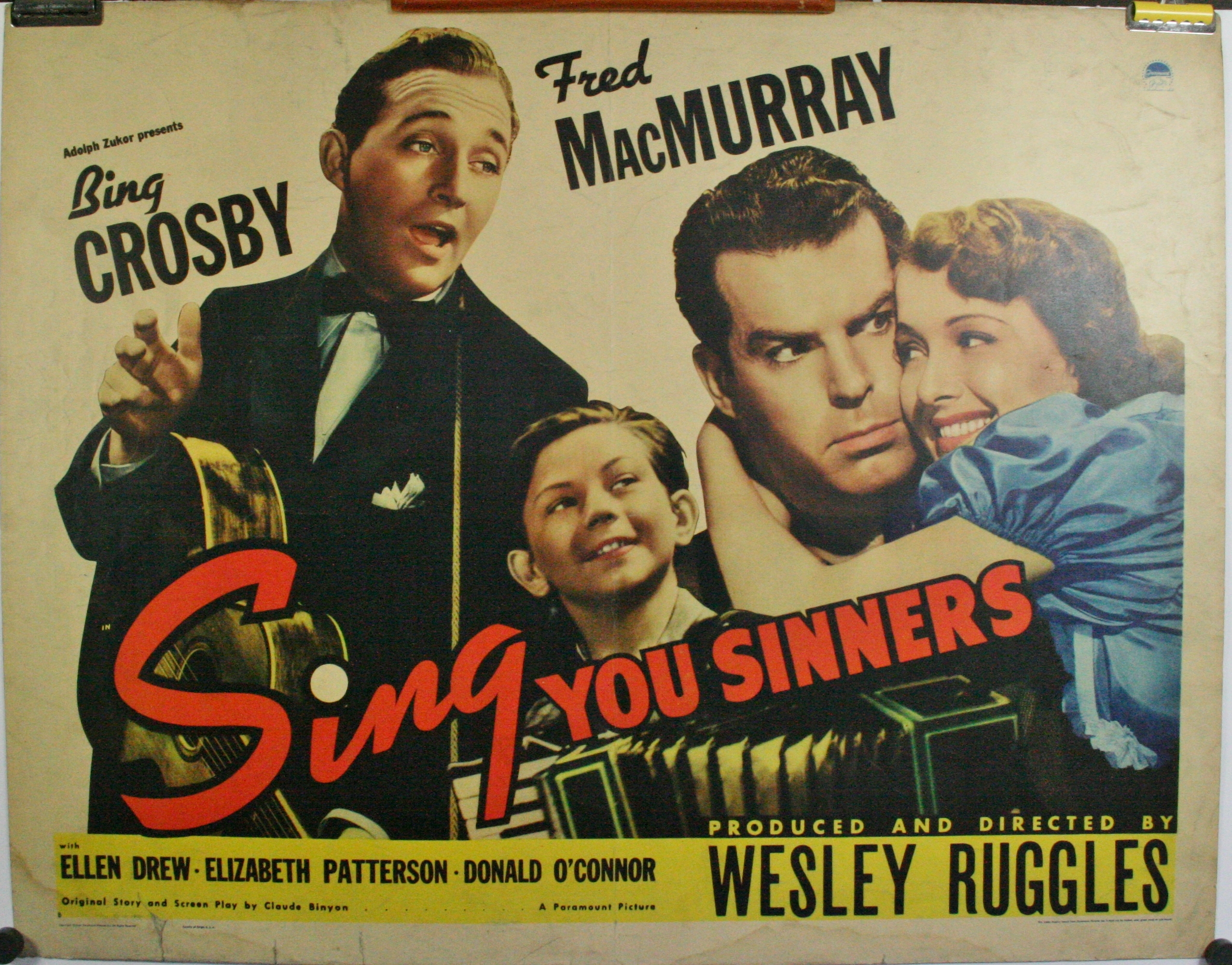 SING YOU SINNERS Original Vintage Bing Crosby Movie Poster - Original  Vintage Movie Posters