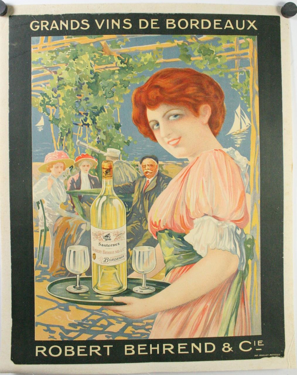 GRANDS VINS DE BORDEAUX Original Vintage French Wine Poster