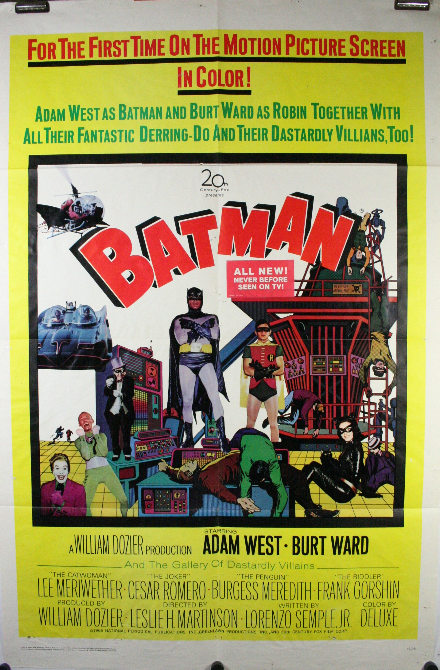 Batman original vintage adam west 1 sheet movie theater for Movie photos for sale