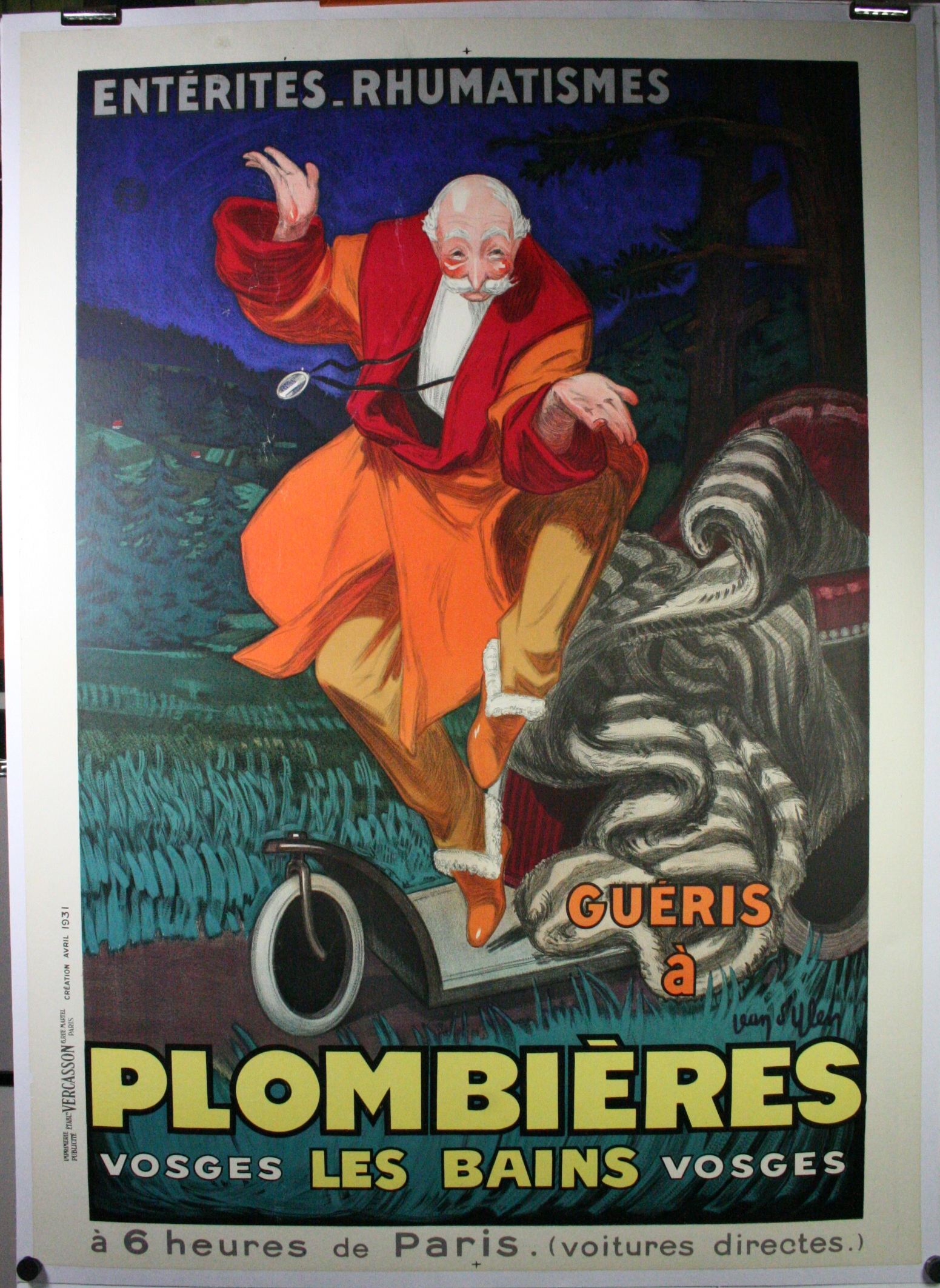 plombiers les bains original french vintage spa poster. Black Bedroom Furniture Sets. Home Design Ideas