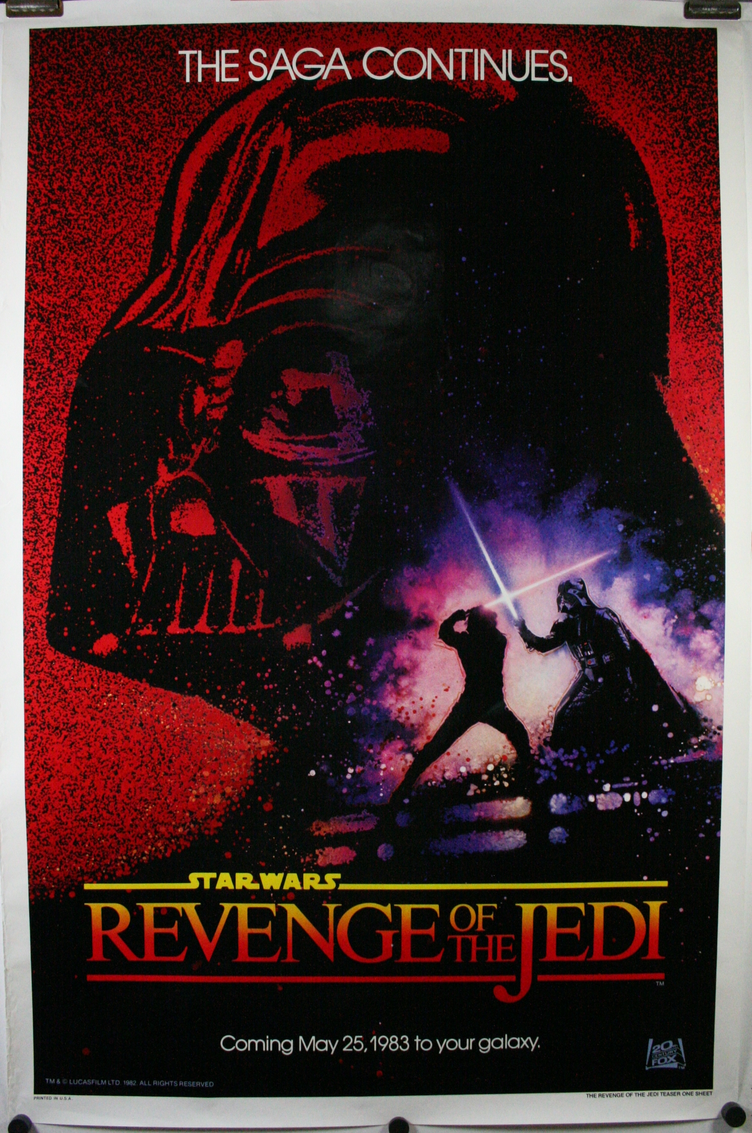 revenge of the jedi original dated star wars 1 sheet