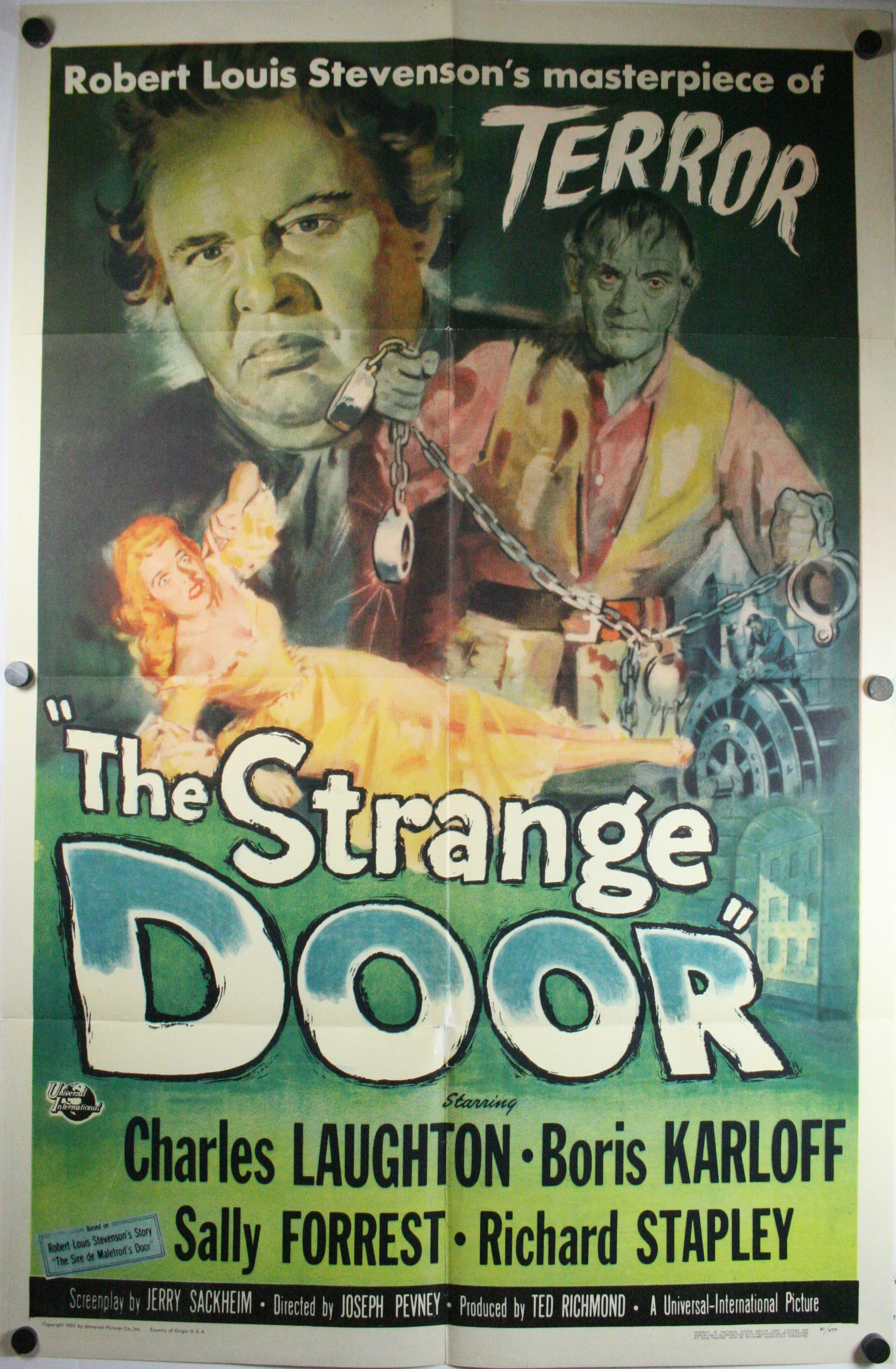 Strange Door & STRANGE DOOR Original Boris Karloff Antique Movie Cinema Poster