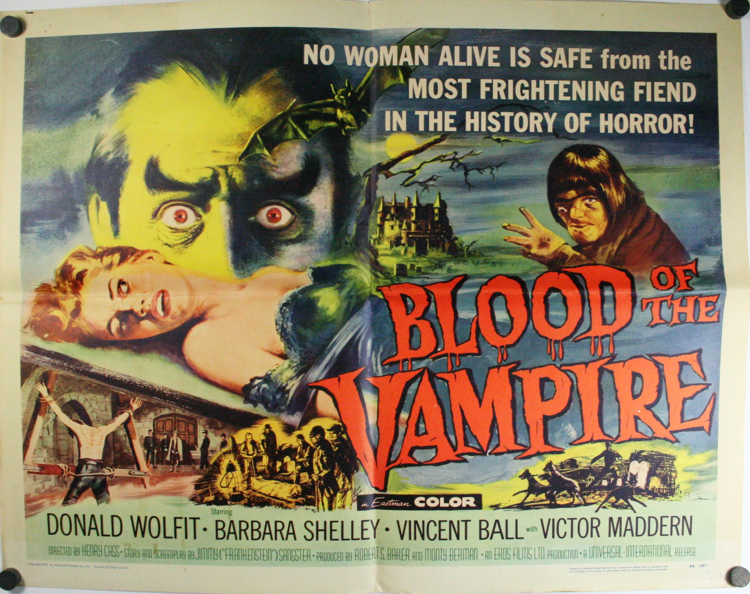 Blood of the vampire original horror half sheet movie for Movie photos for sale