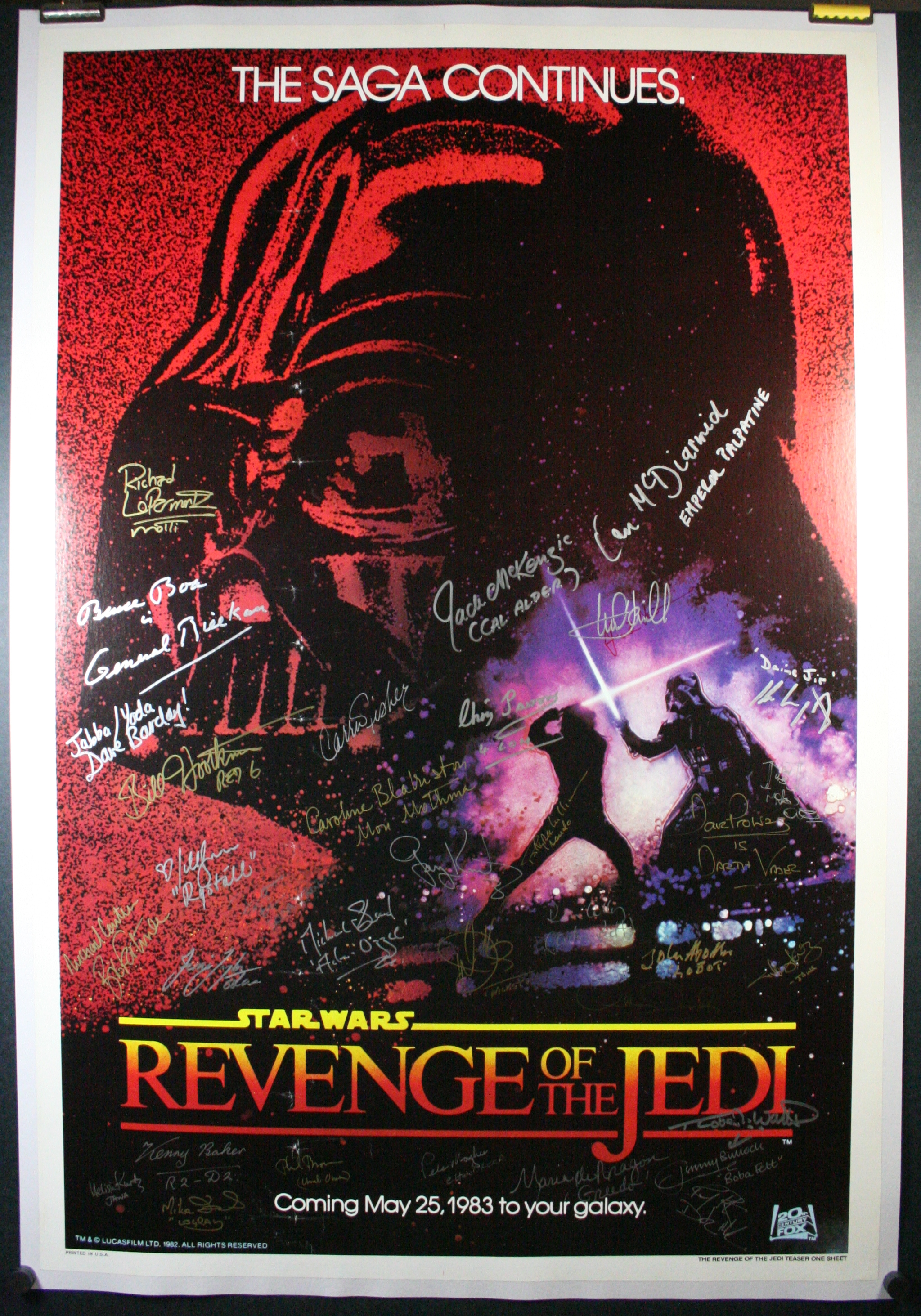 Linen Backing an Autographed Movie Poster.