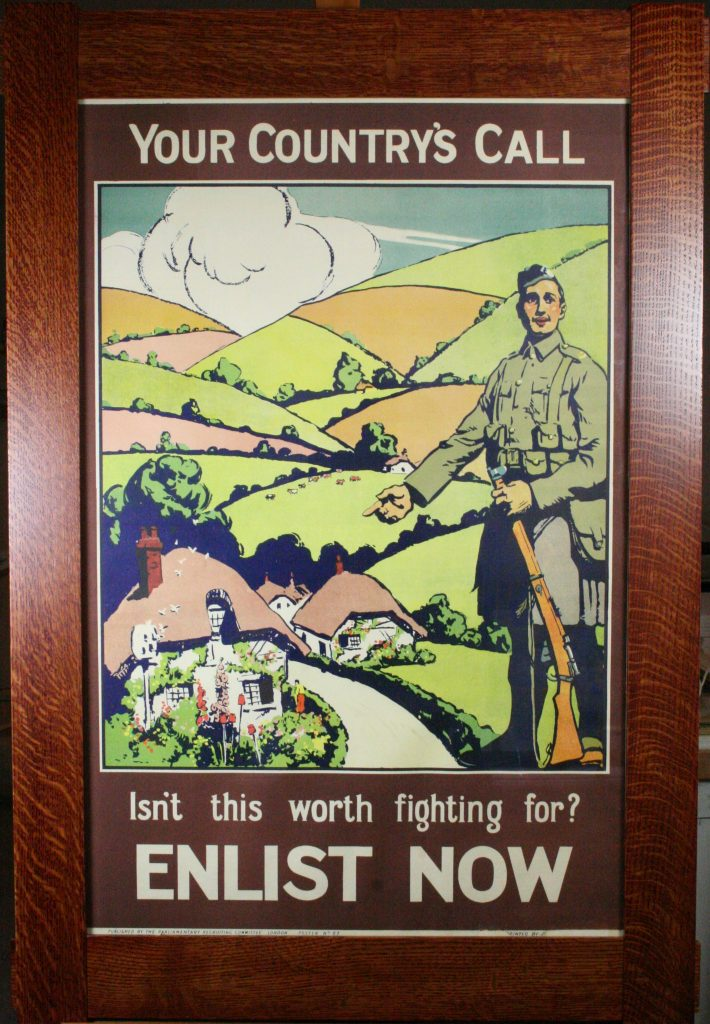 This British WW1 poster was framed in a custom build mission frame.