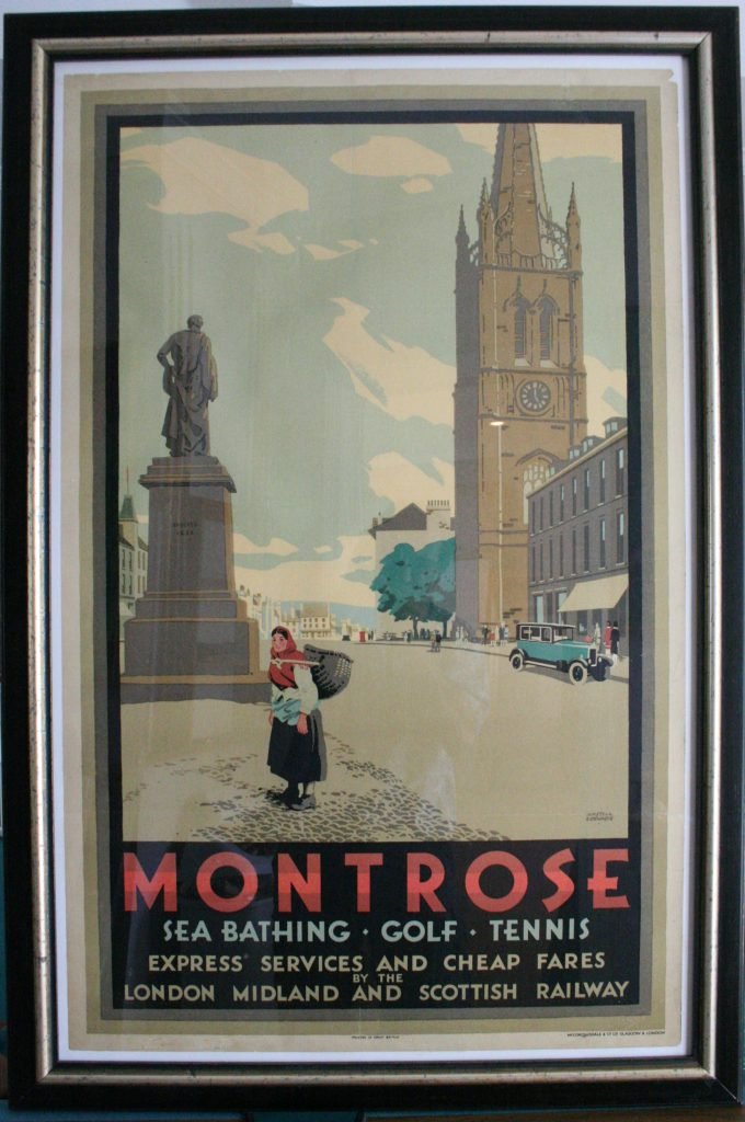 The shaded borders on this travel poster are accentuated with this mat black with broken silver rib molding. (Molding #6706)
