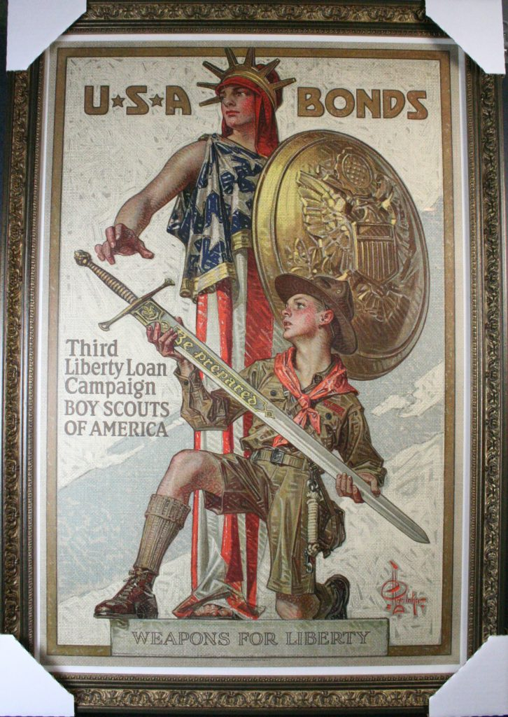 A popular WW1 poster matches this molding in color as well as texture