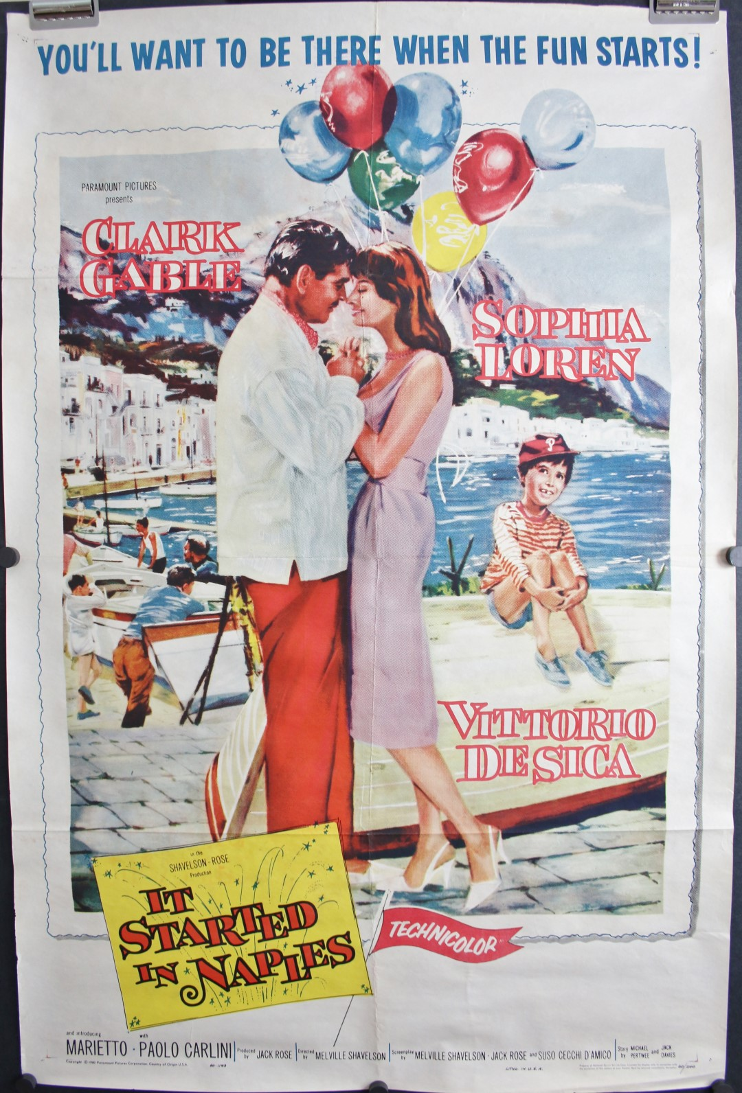 it started in naples original vintage movie poster