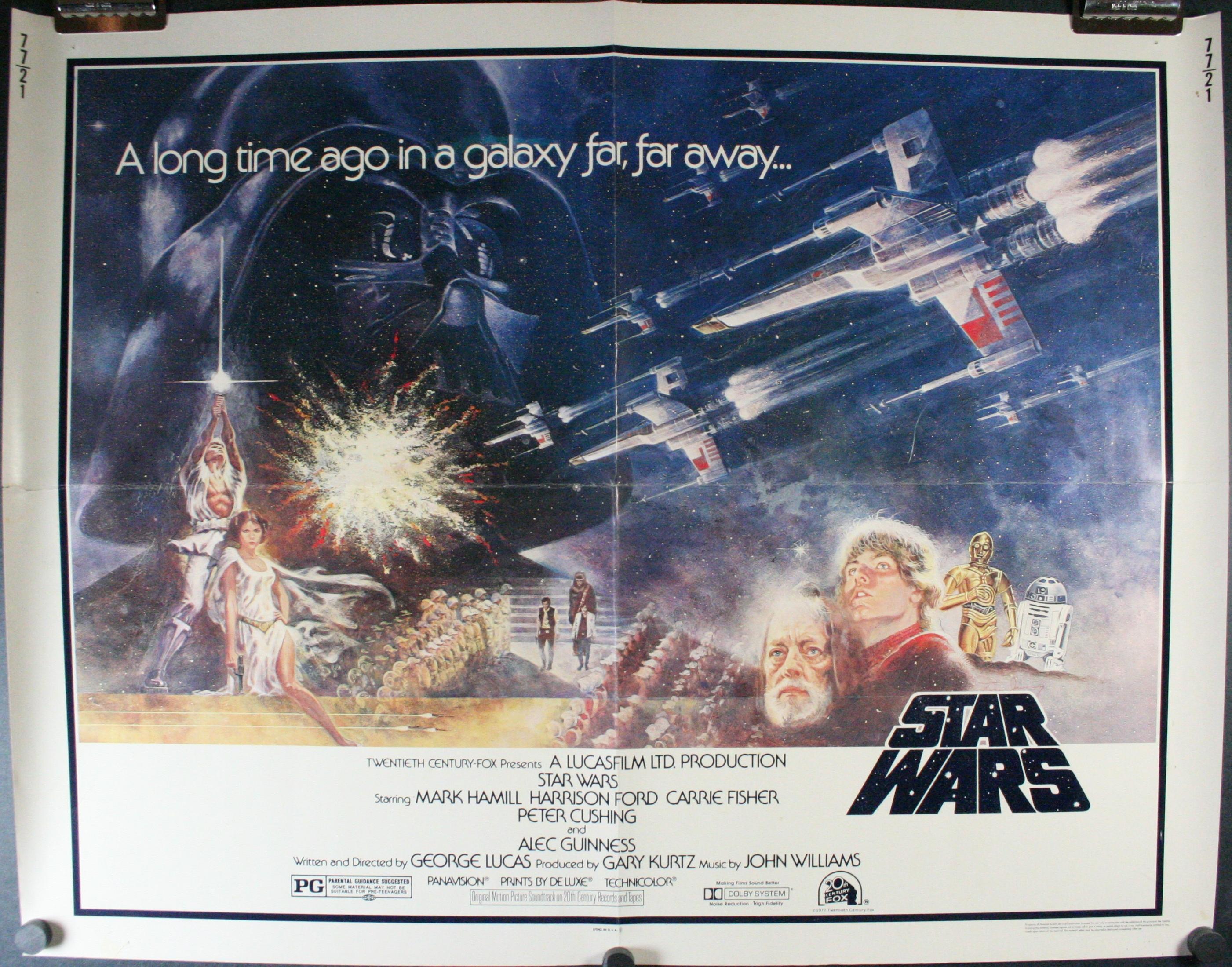 Star Wars Original Pg Ratings Box Half Sheet Theatrical Movie Poster For Sale Original Vintage Movie Posters