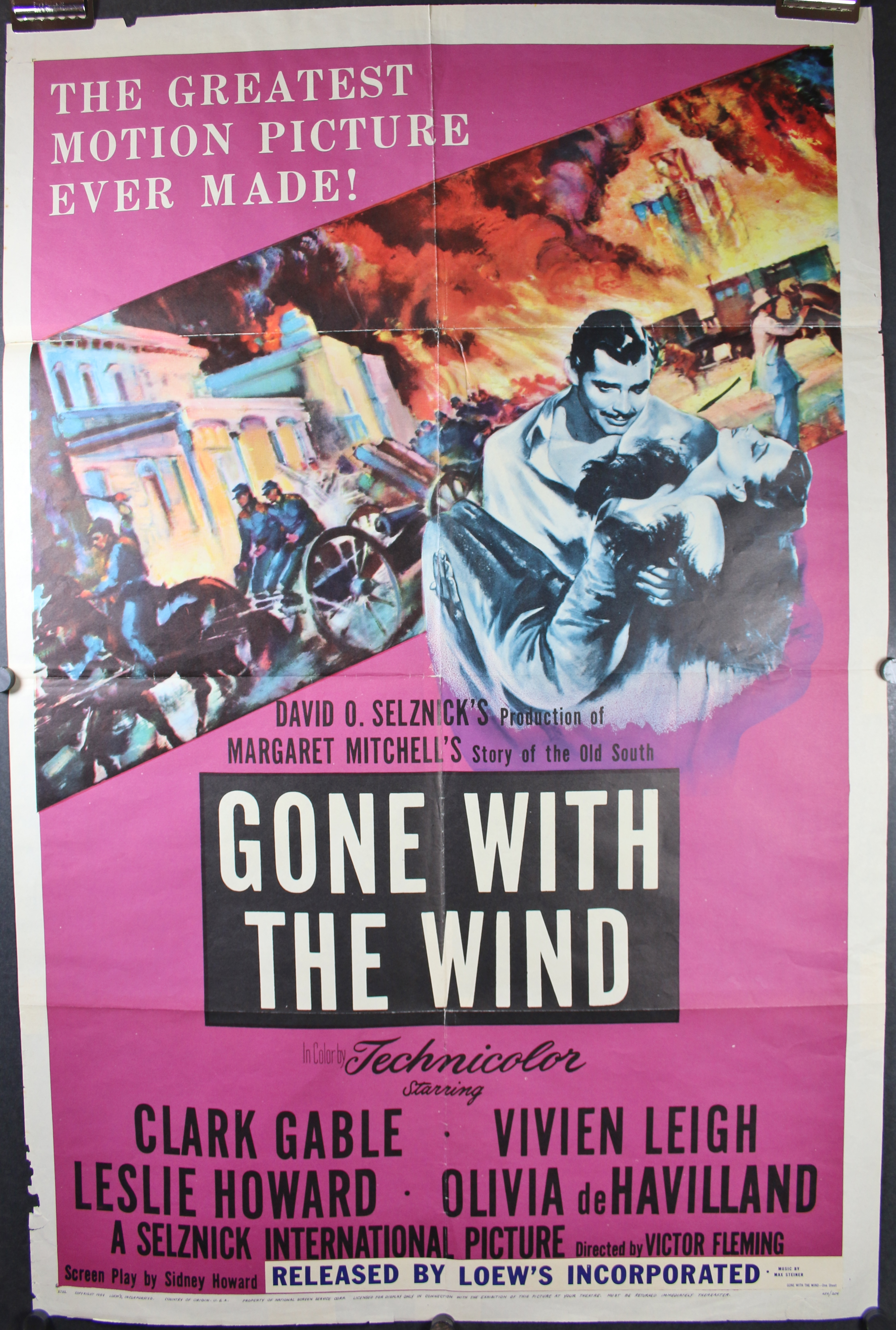 GONE WITH THE WIND, Original Purple 1954 Re-Release Folded ...