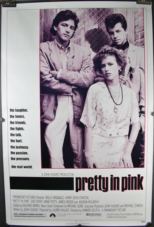 pretty in pink original vintage molly ringwald movie poster. Black Bedroom Furniture Sets. Home Design Ideas