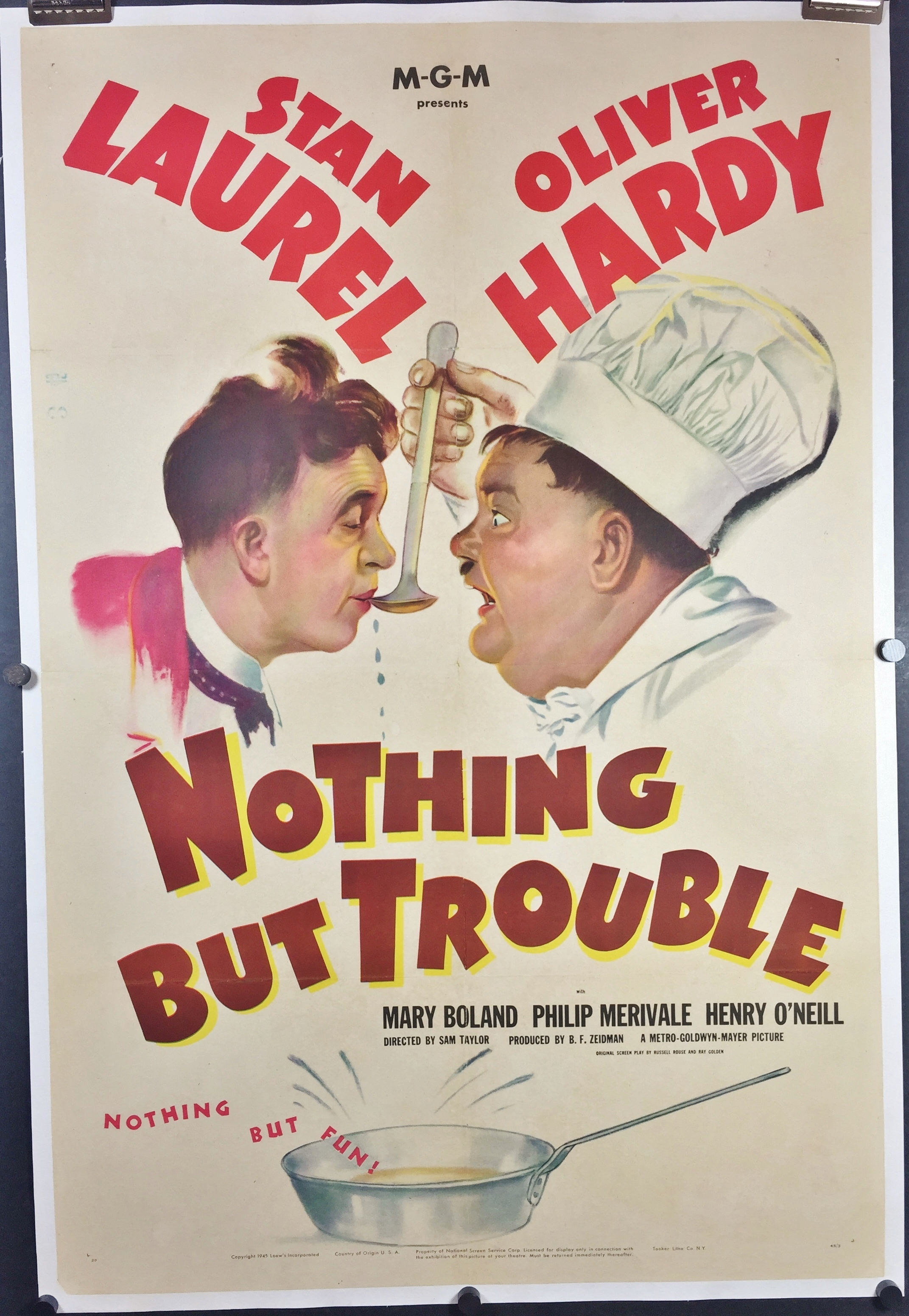 NOTHING BUT TROUBLE, Original Vintage Laurel & Hardy Linen ...