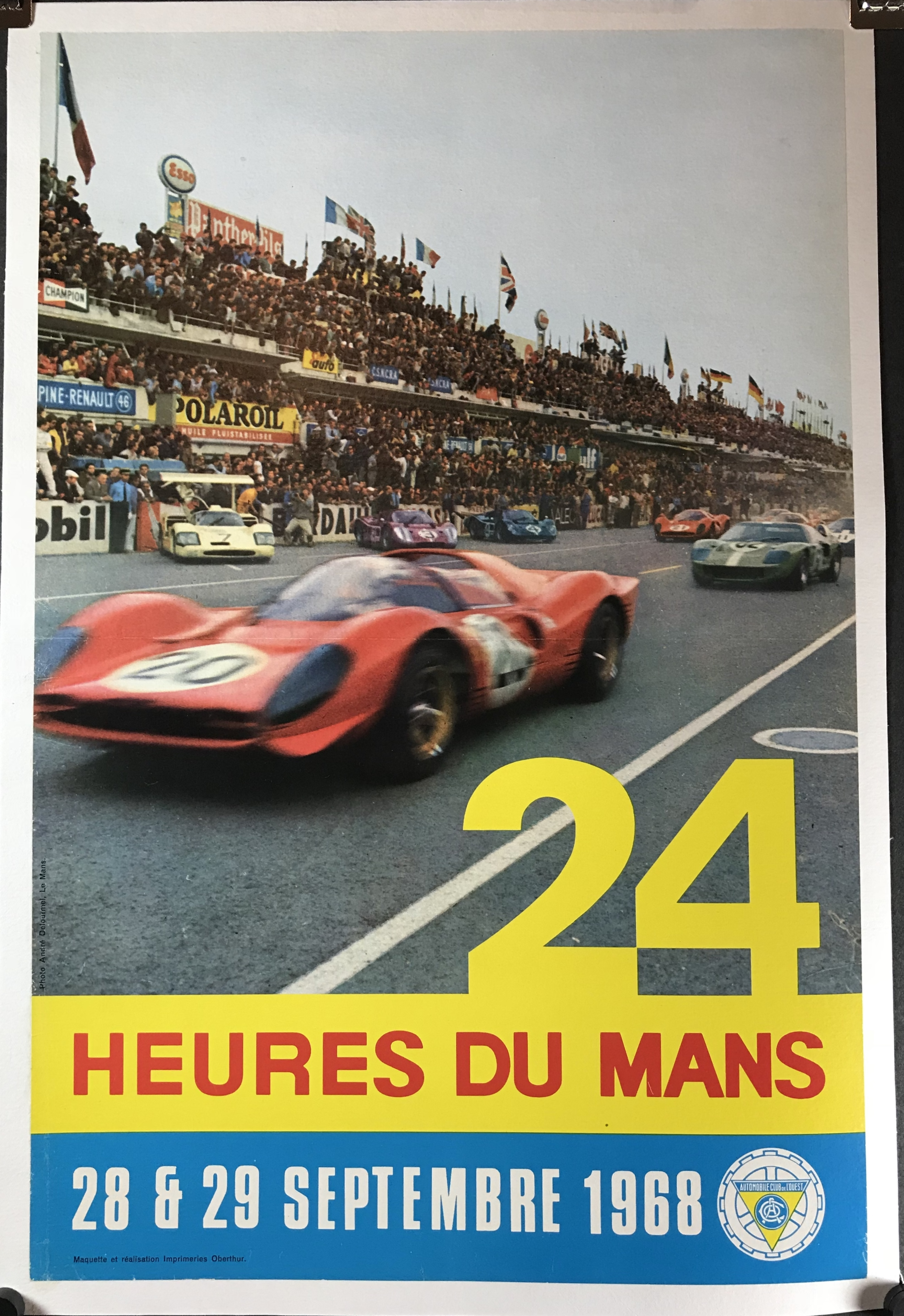 1968 24 heures du mans original vintage car racing poster ferrari 250. Black Bedroom Furniture Sets. Home Design Ideas