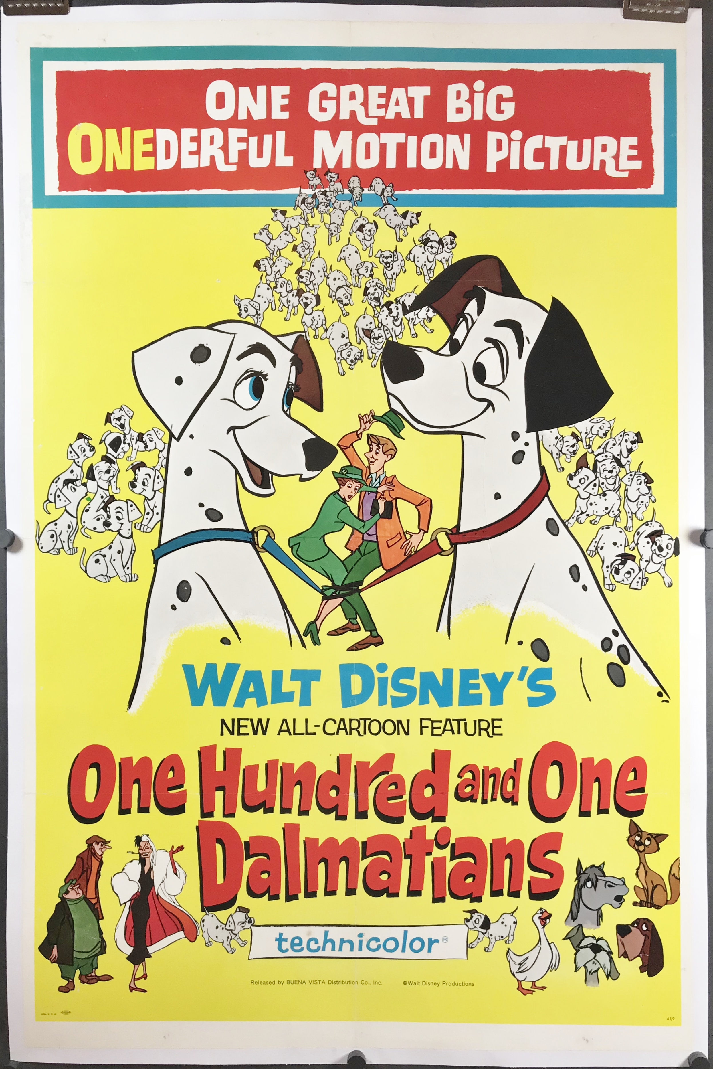 One Hundred And One Dalmatians Original Walt Disney Movie Poster Original Vintage Movie Posters