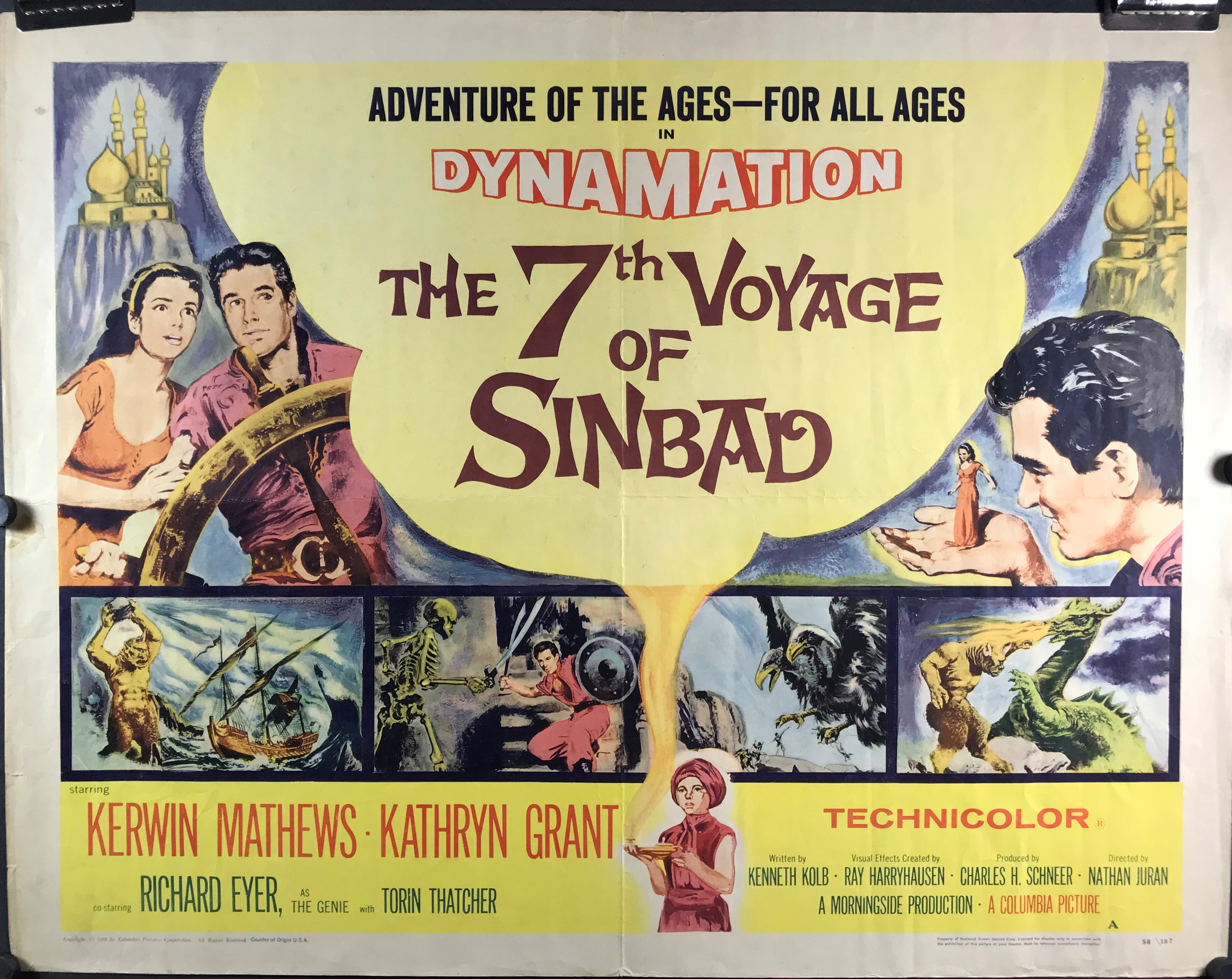 THE 7th VOYAGE OF SINBAD, Original Vintage Adventure Half Sheet ...