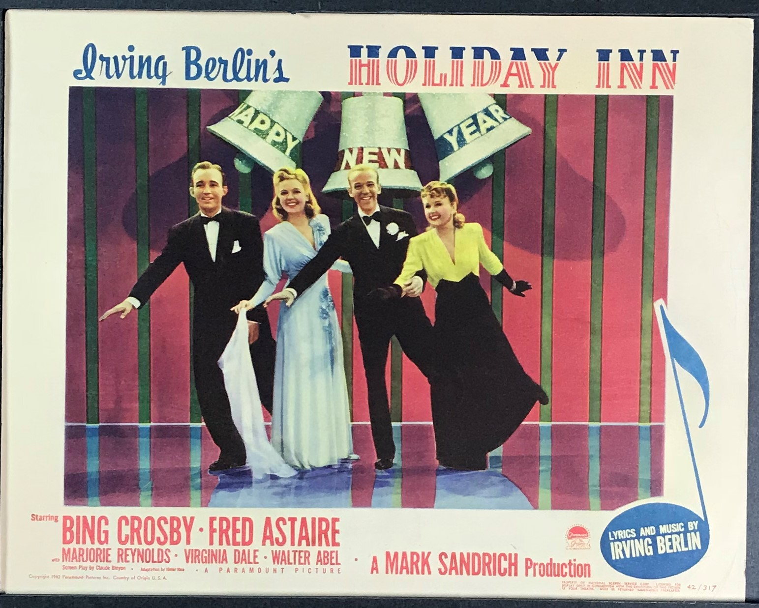 Holiday Inn Original Vintage Bing Crosby And Fred Astaire Lobby Card Happy New Year Original Vintage Movie Posters