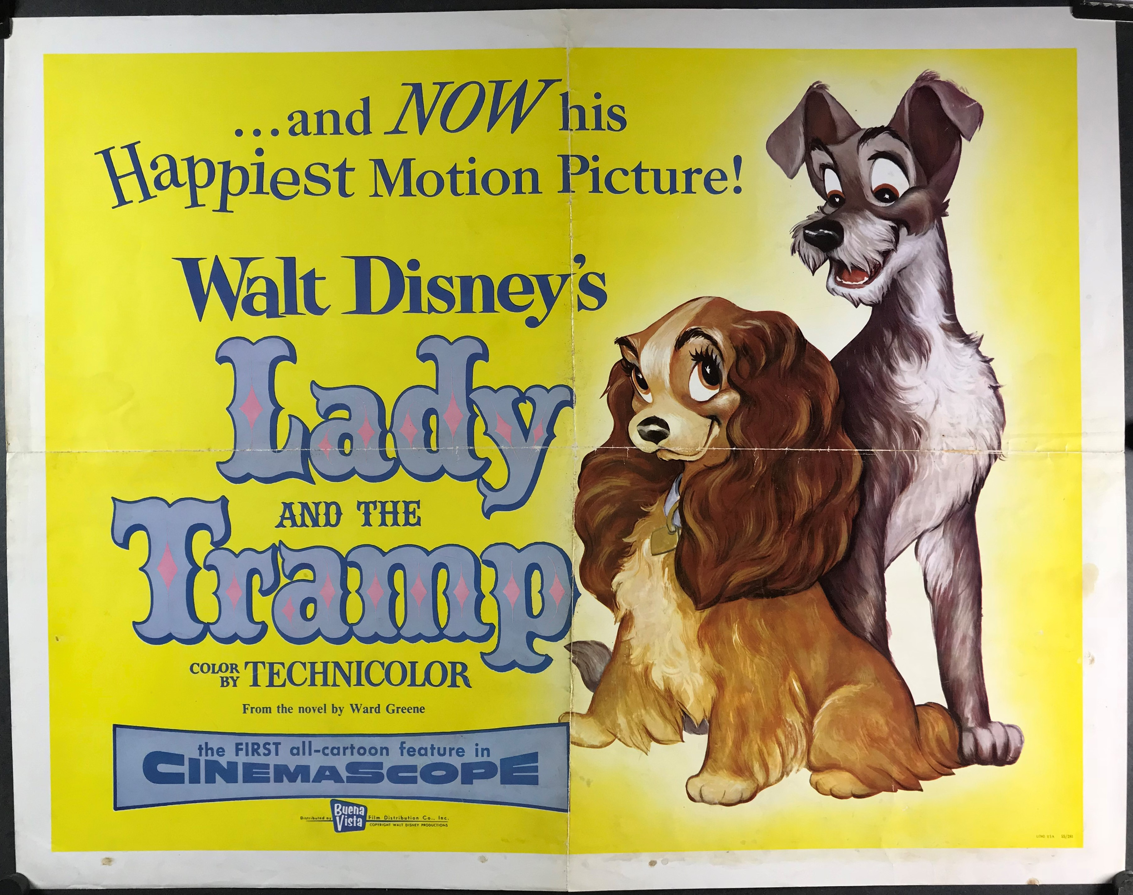 Lady And The Tramp Original Vintage Disney Movie Poster Original Vintage Movie Posters