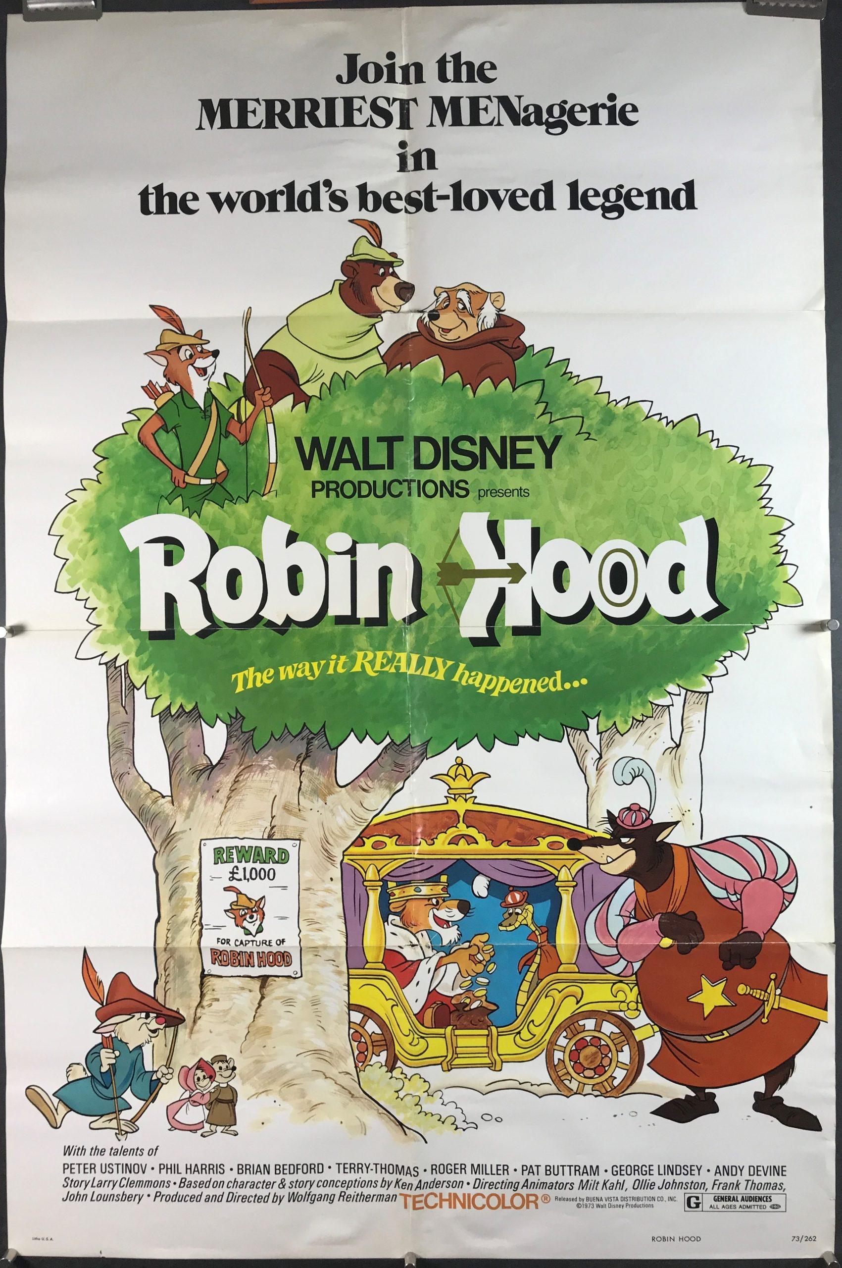 ROBIN HOOD, Original Walt Disney Vintage Movie Poster ...