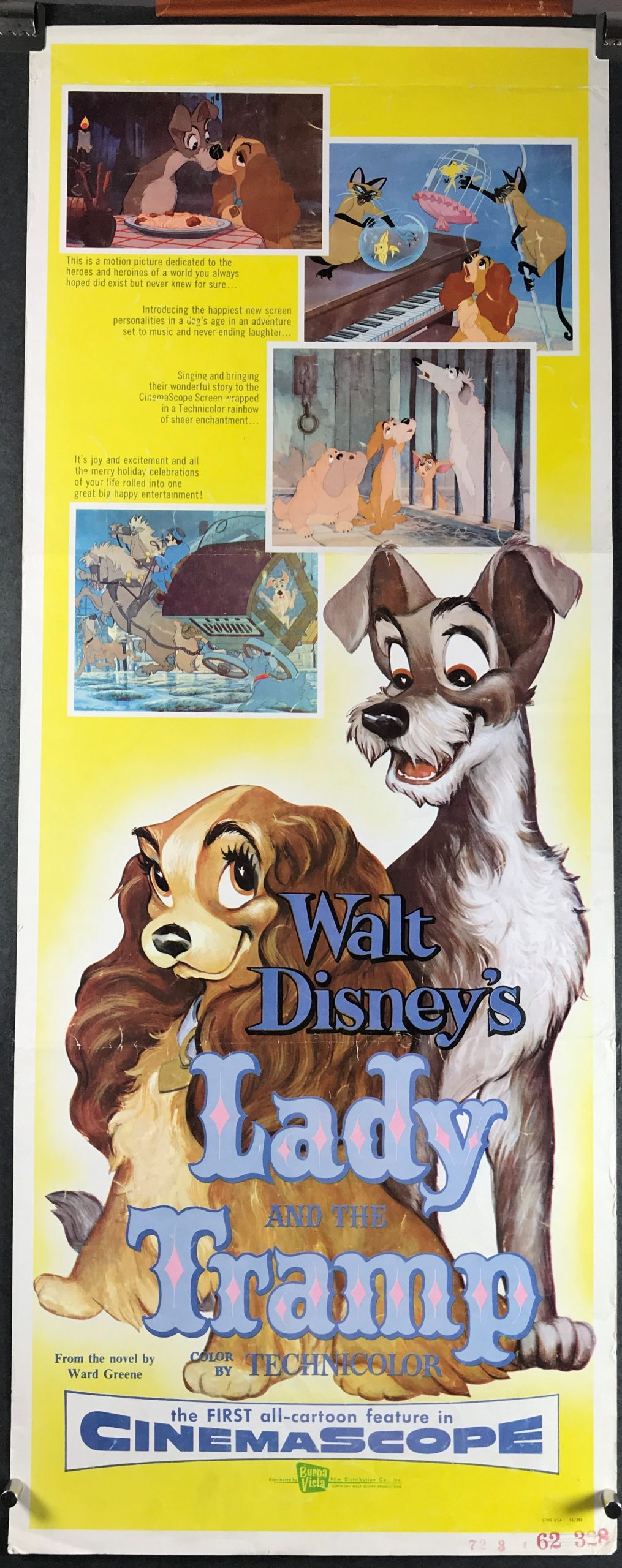 Lady And The Tramp Original Vintage Walt Disney Animated Movie Poster Original Vintage Movie Posters